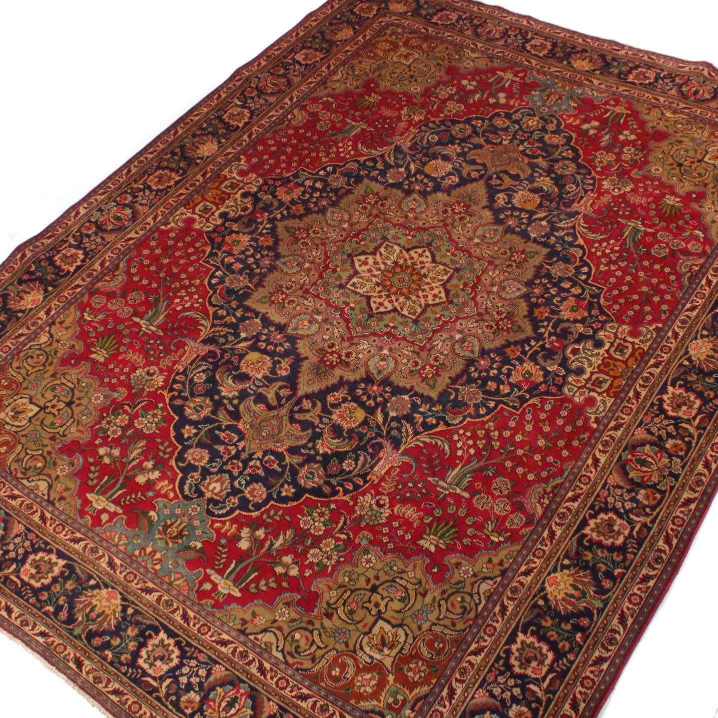 9' x 13' Vintage Hand-Knotted Persian Qum Room Size Rug