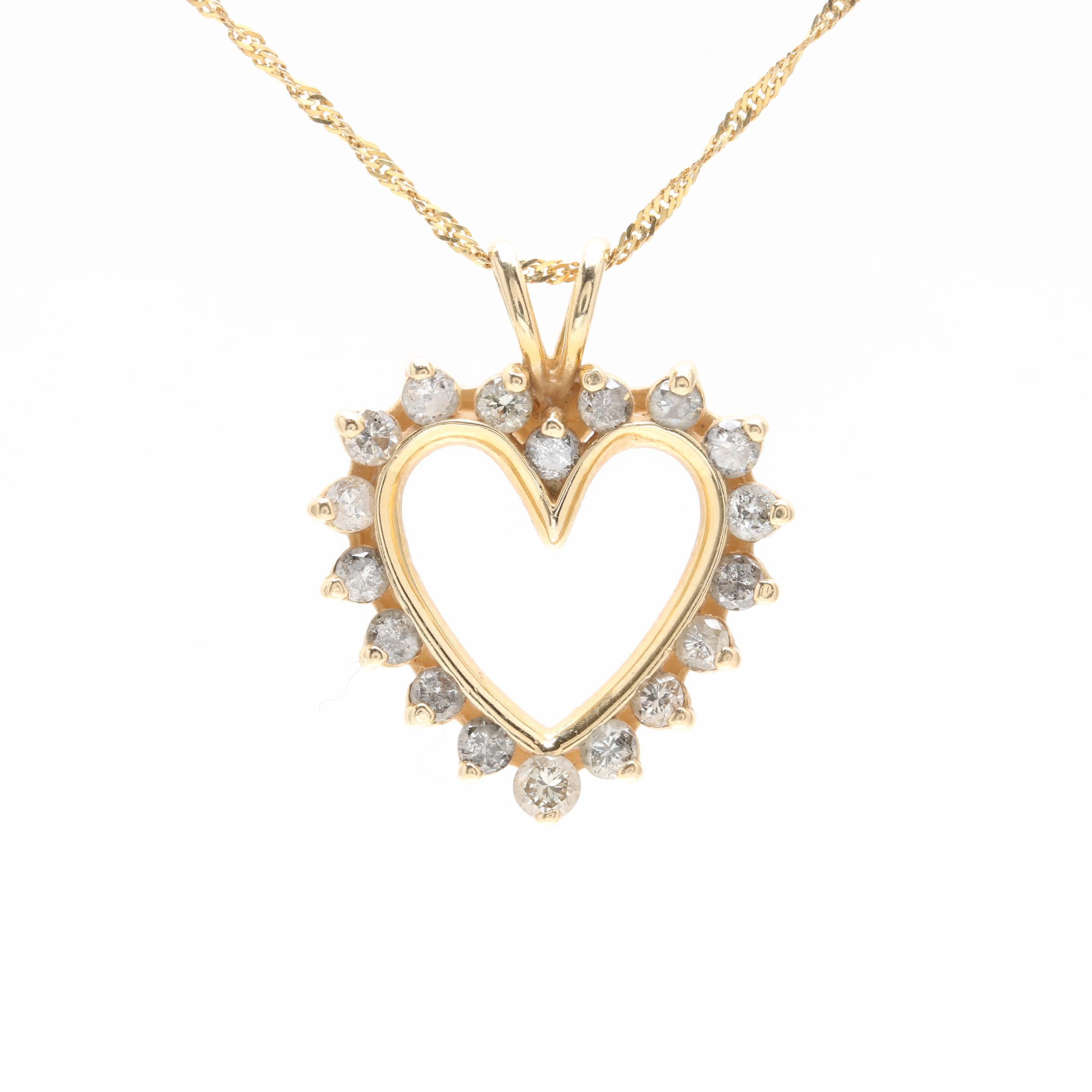14K Yellow Gold 1.11 CTW Diamond Pendant Necklace