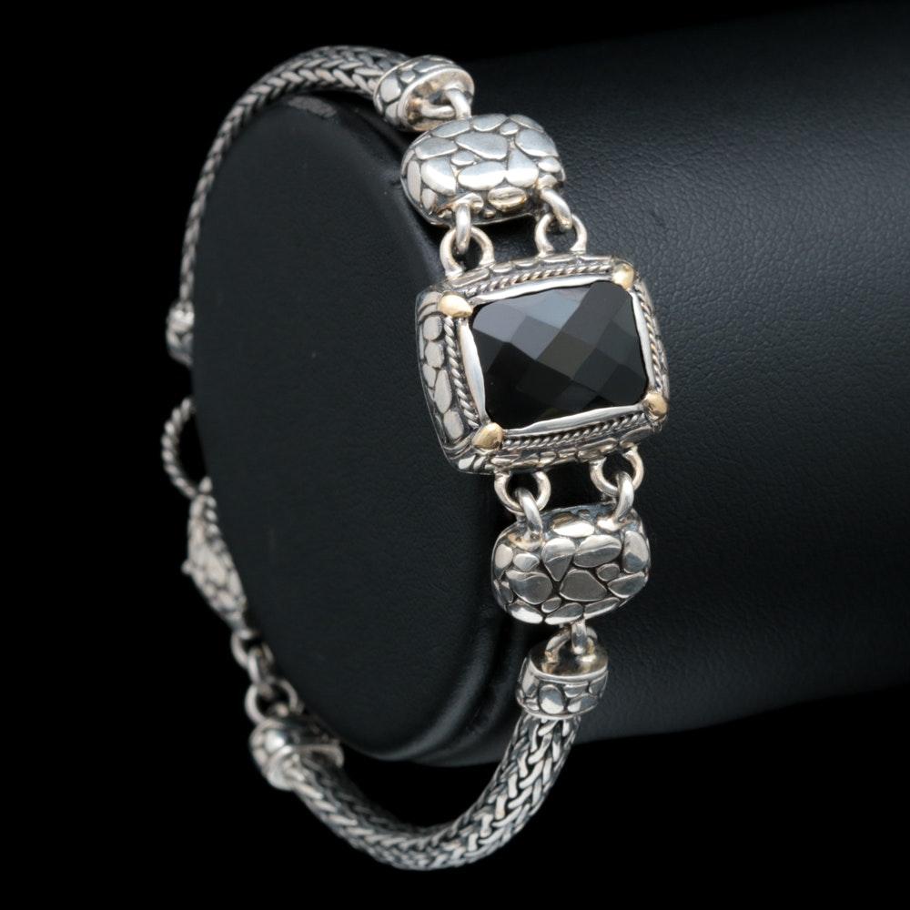 Robert Manse Sterling Silver, 18K Yellow Gold and Black Chalcedony Bracelet