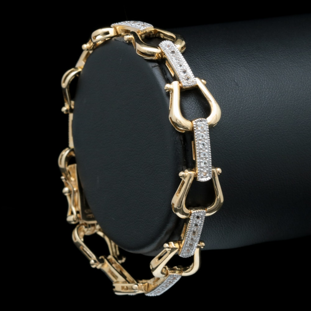 Gold Wash on Sterling Silver and White Zircon Bracelet