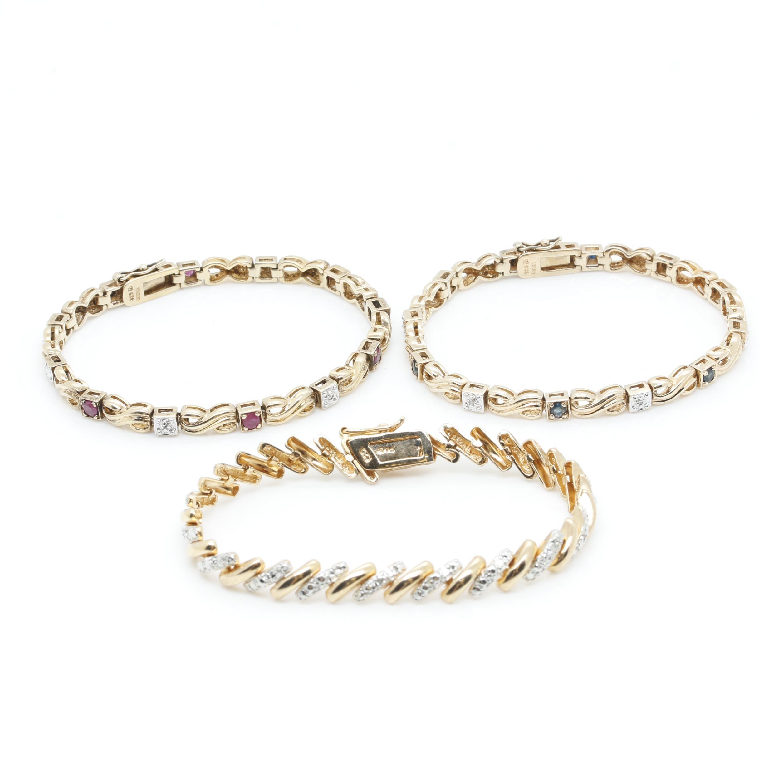Gold Wash on Sterling Silver Gemstone Bracelets With Diamonds