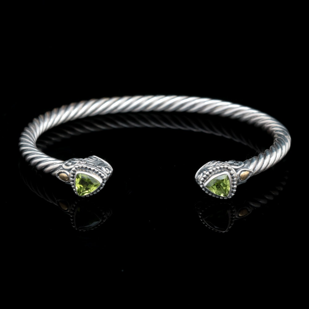 Robert Manse Sterling Silver, 18K Yellow Gold and Peridot Open Cuff Bracelet