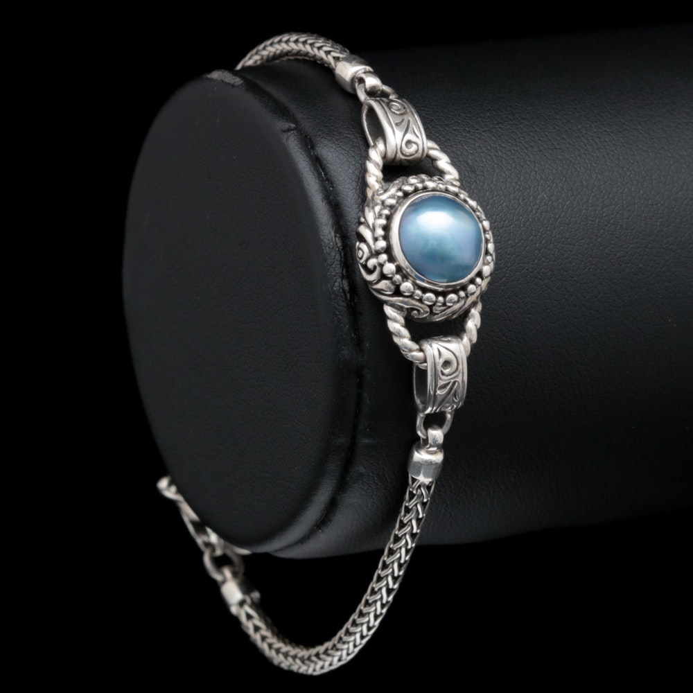 Robert Manse Sterling Silver and Blue Mabé Pearl Bracelet