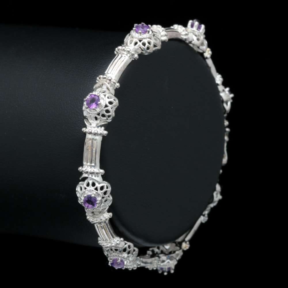 Sterling Silver and Amethyst Bracelet