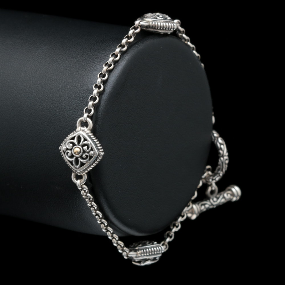 Robert Manse Sterling Silver and 18K Yellow Gold Bracelet