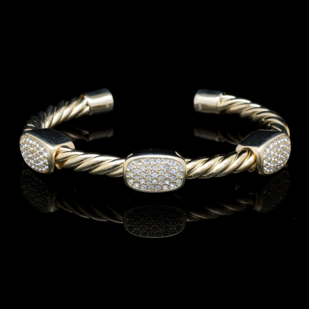 Gold Wash on Sterling and Crystal Bracelet
