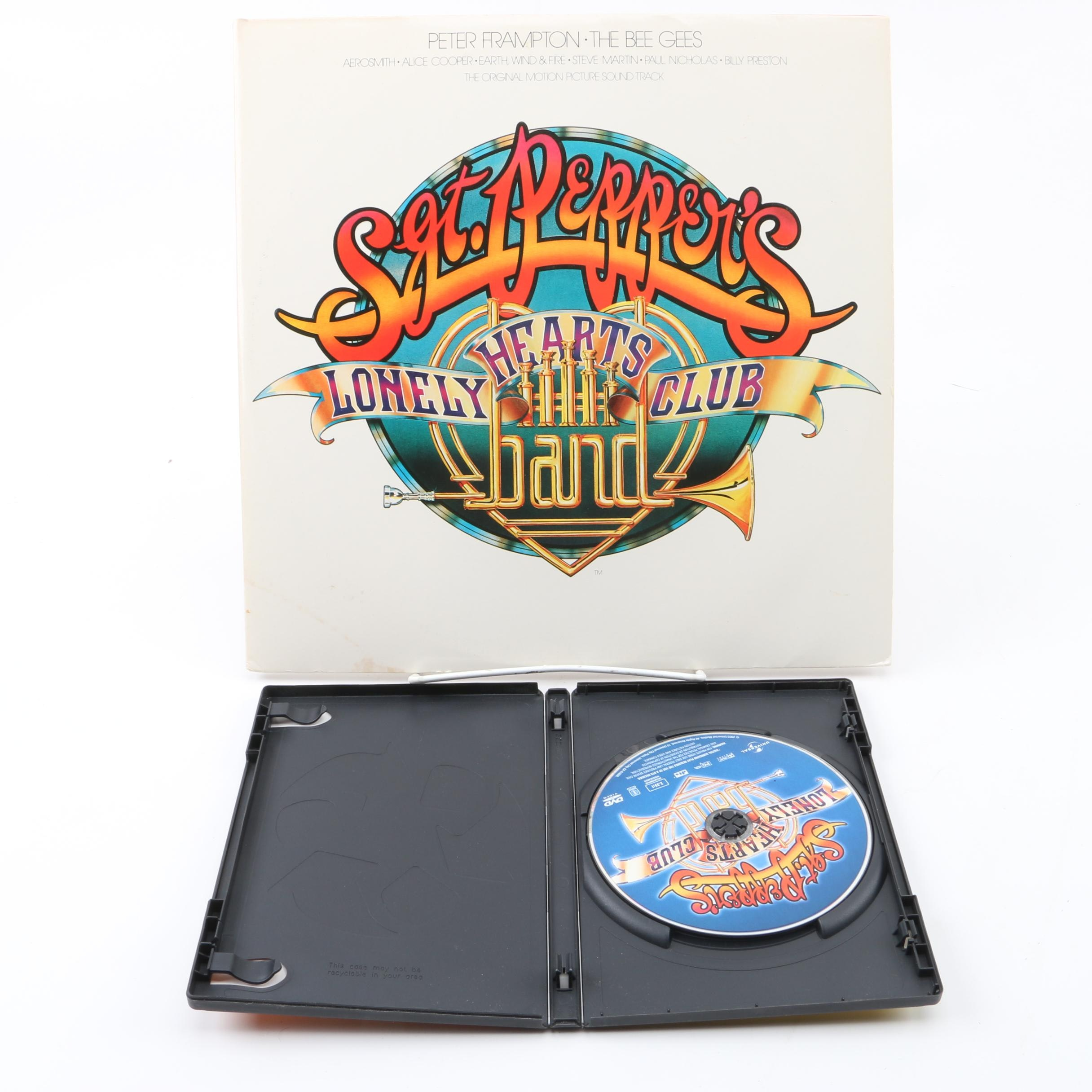 """""""Sgt Pepper's Lonely Hearts Club Band"""" Soundtrack Record with Poster and DVD"""
