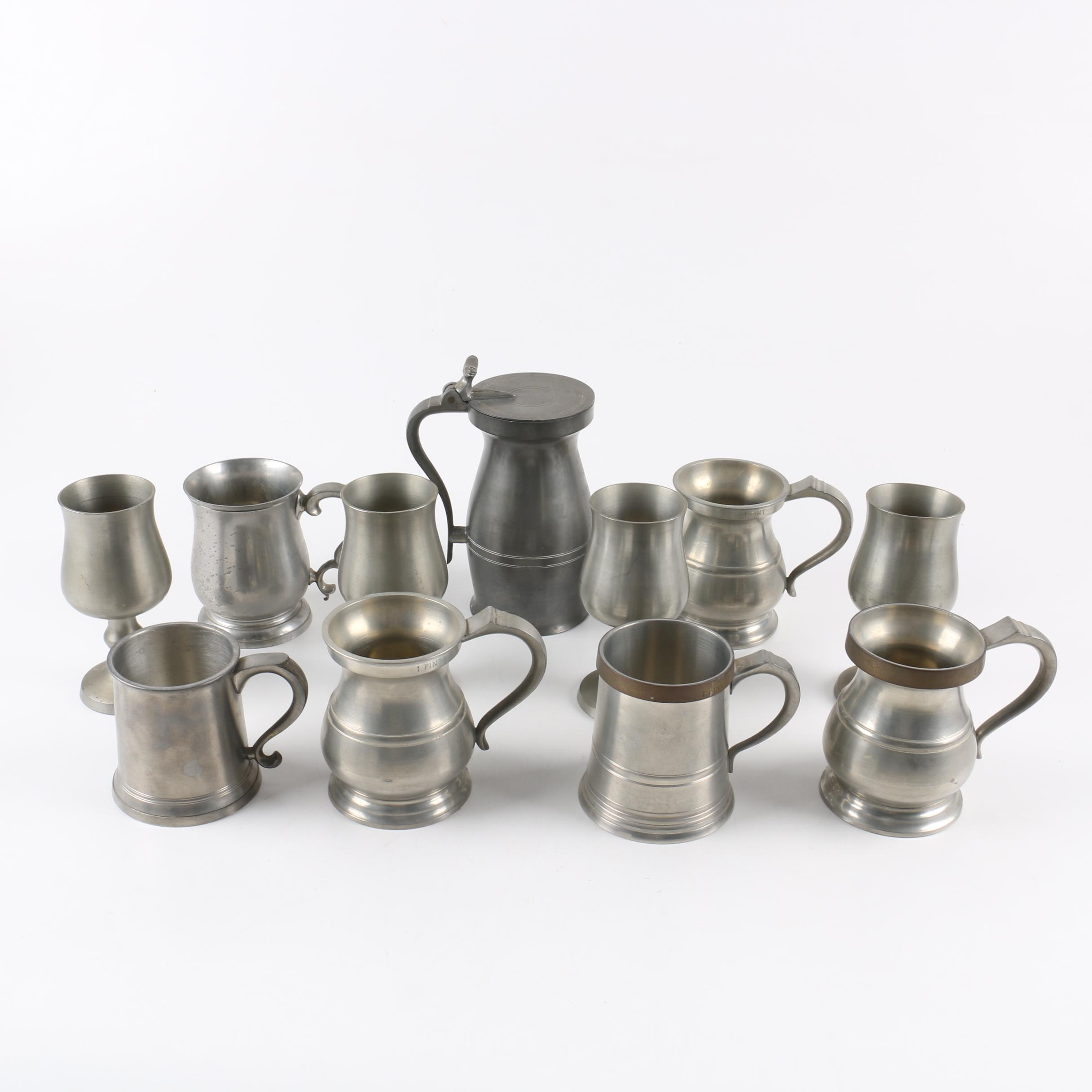 Hand Turned James Yates Pewter Mugs and Assorted Pewter Cups and Mugs