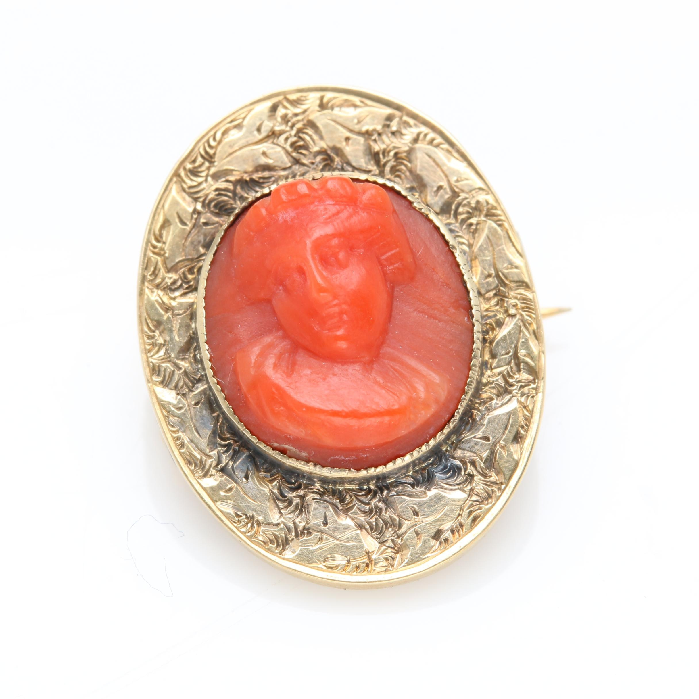 Victorian 14K Yellow Gold Dyed Coral Cameo Brooch