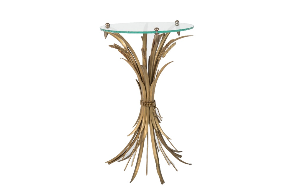 Hollywood Regency Style Wheat Sheaf Brass Accent Table