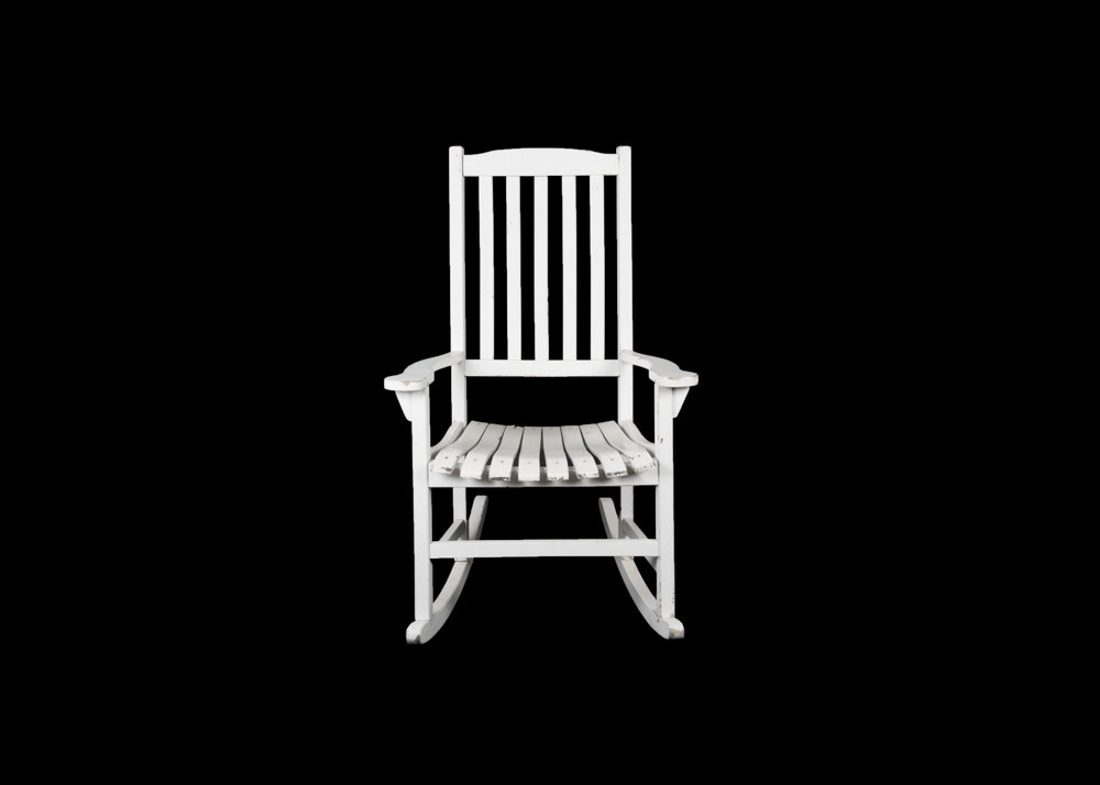 White-Painted Country Style Rocking Chair