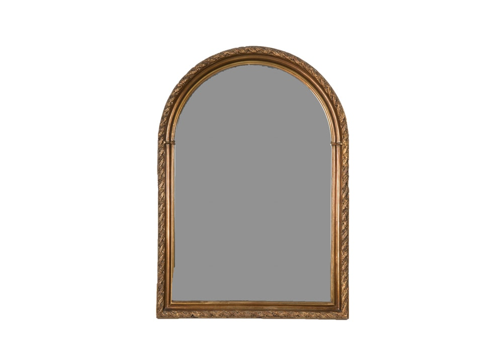 Vintage Arched Wood Framed Wall Mirror