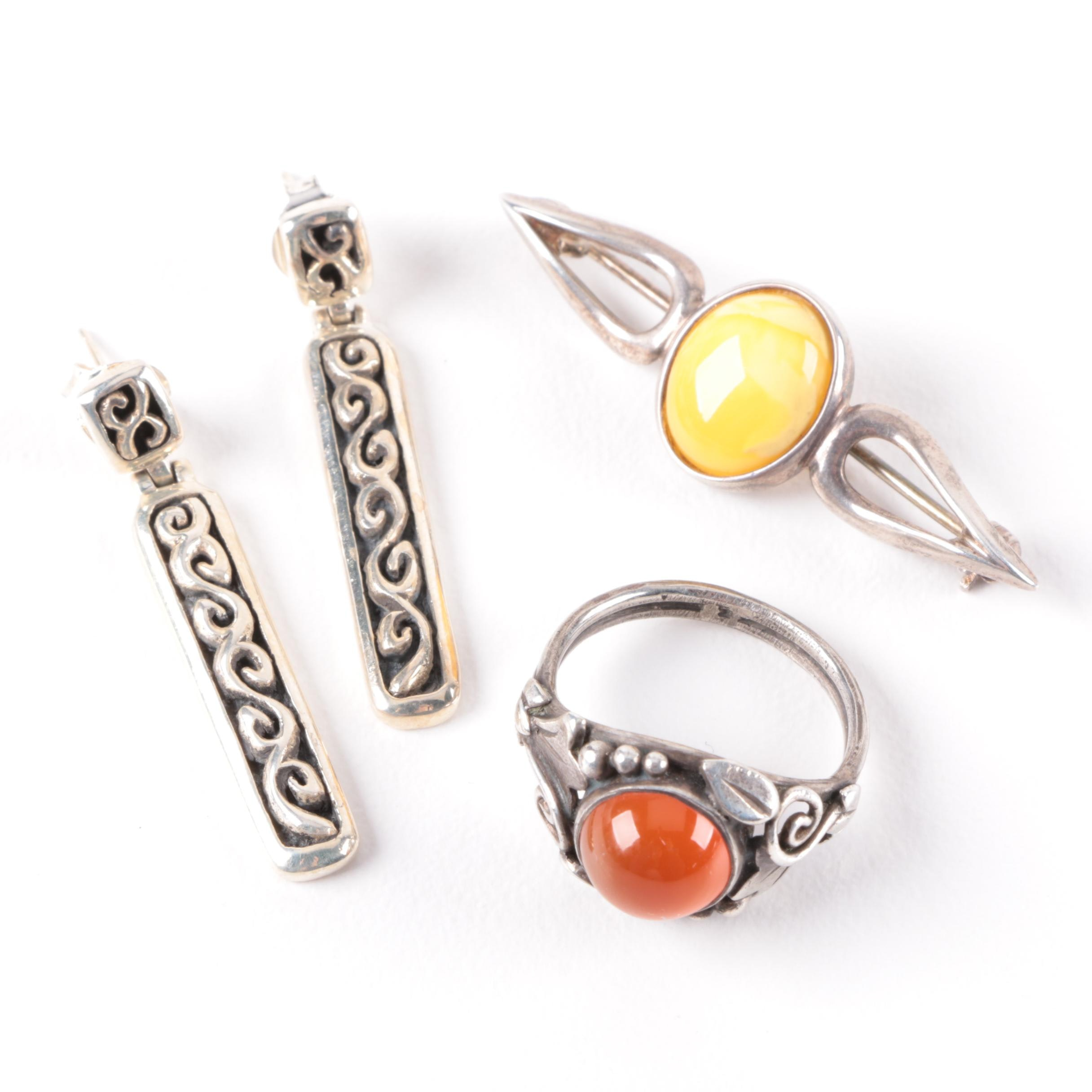 Assorted Sterling Silver Carnelian and Resin Ring, Earrings and Brooch