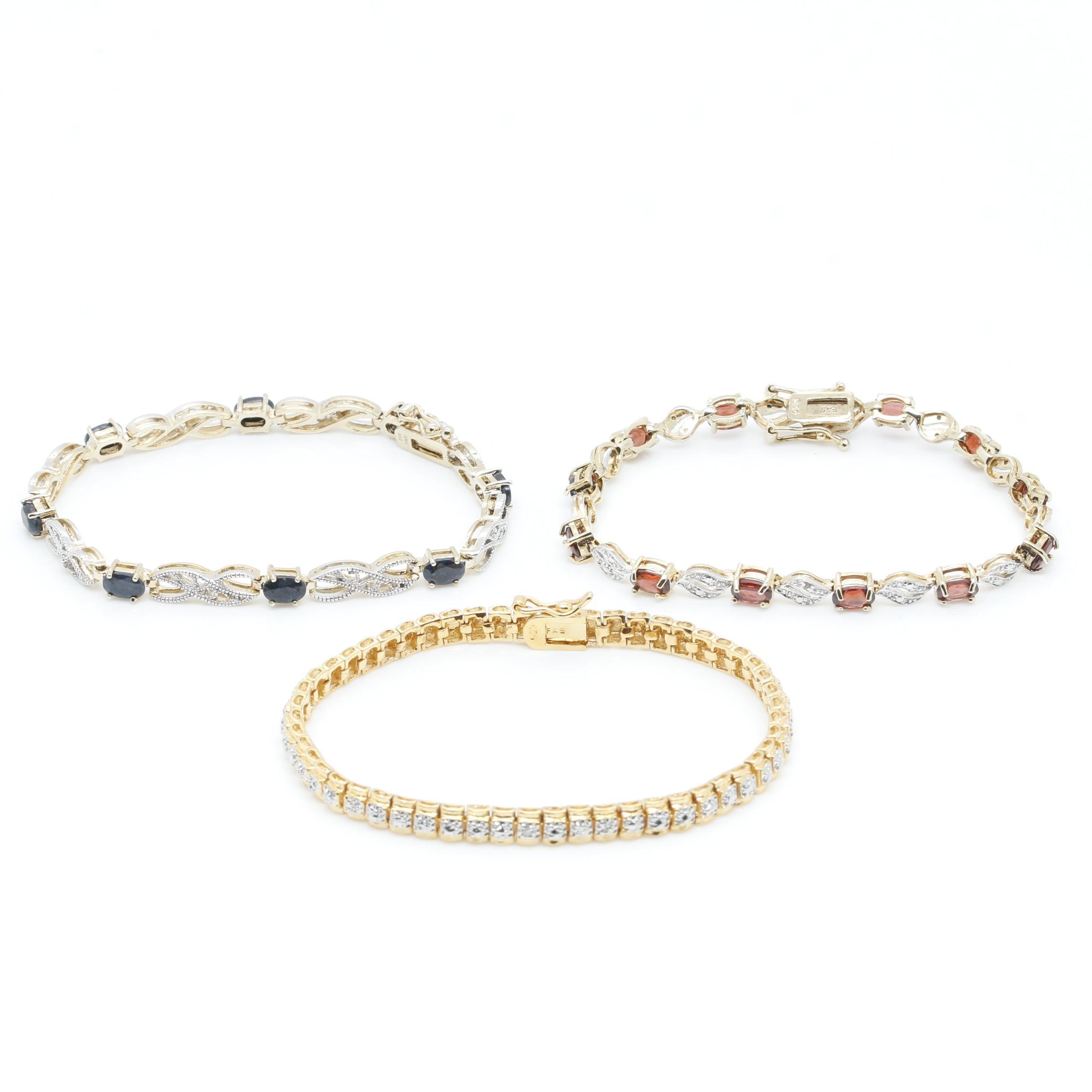 Gold Wash Sterling Silver Gemstone Tennis Bracelets