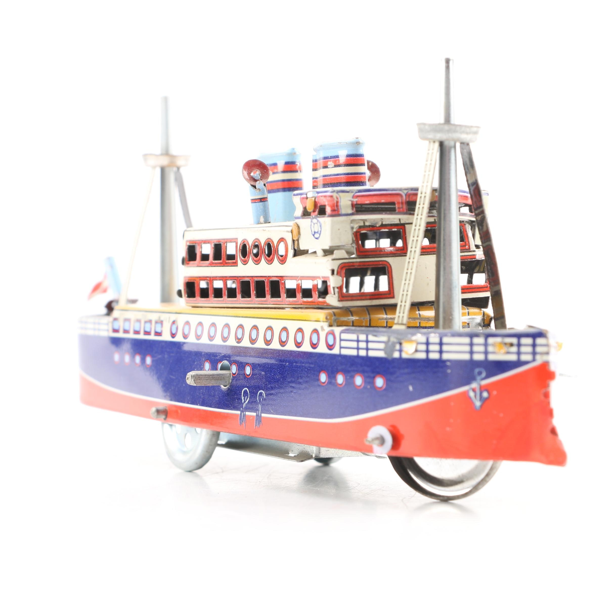 Tin Litho Wind-Up Ocean Liner