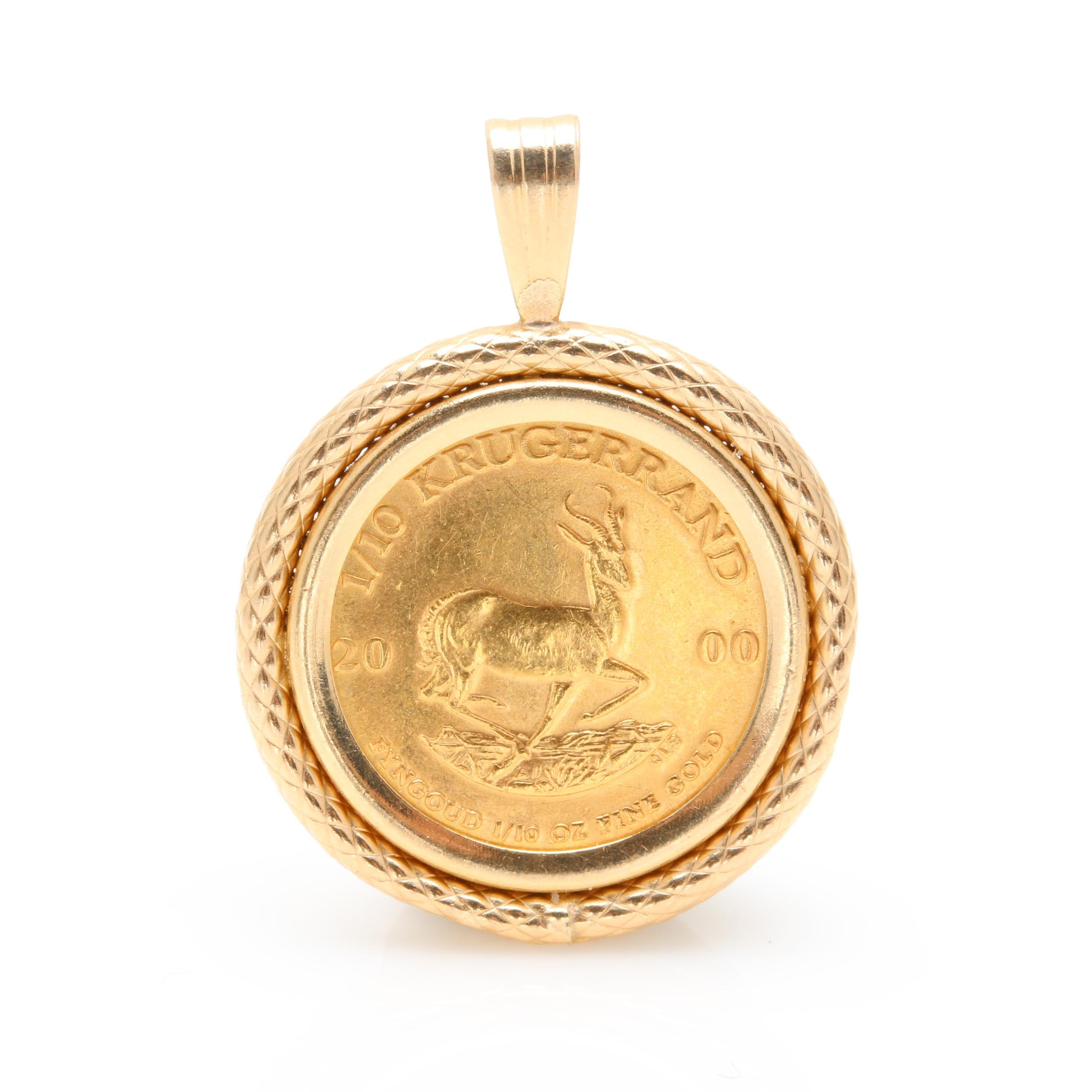 2000 1/10th Krugerrand 22K and 14K Yellow Gold Bullion Coin Pendant