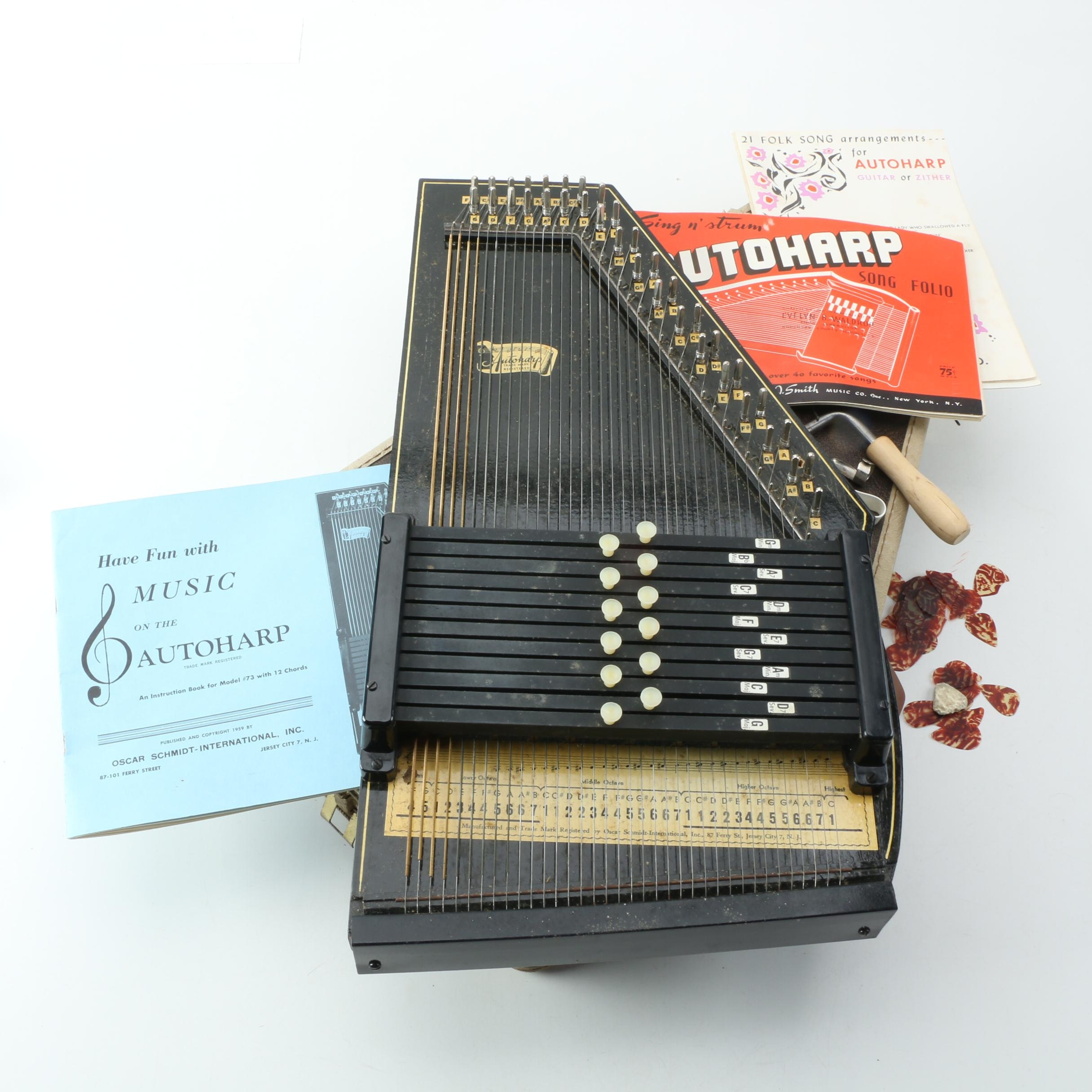 Vintage Oscar Schmidt Autoharp with Case, Sheet Music, and Picks