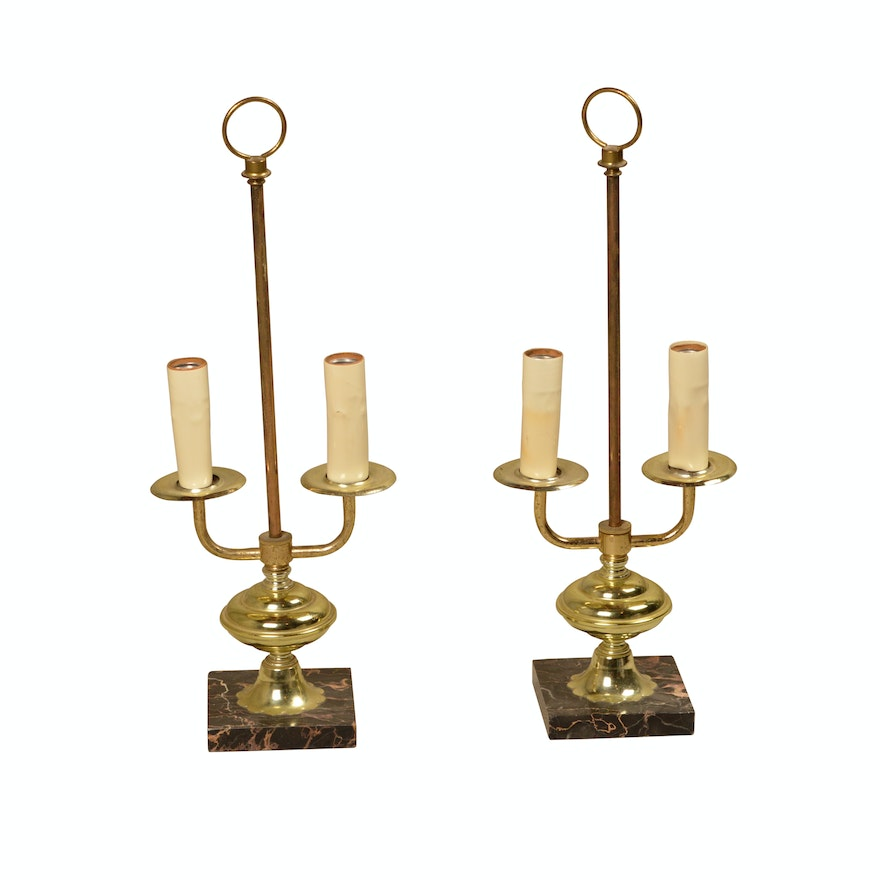 Vintage brass candelabra style accent lamps