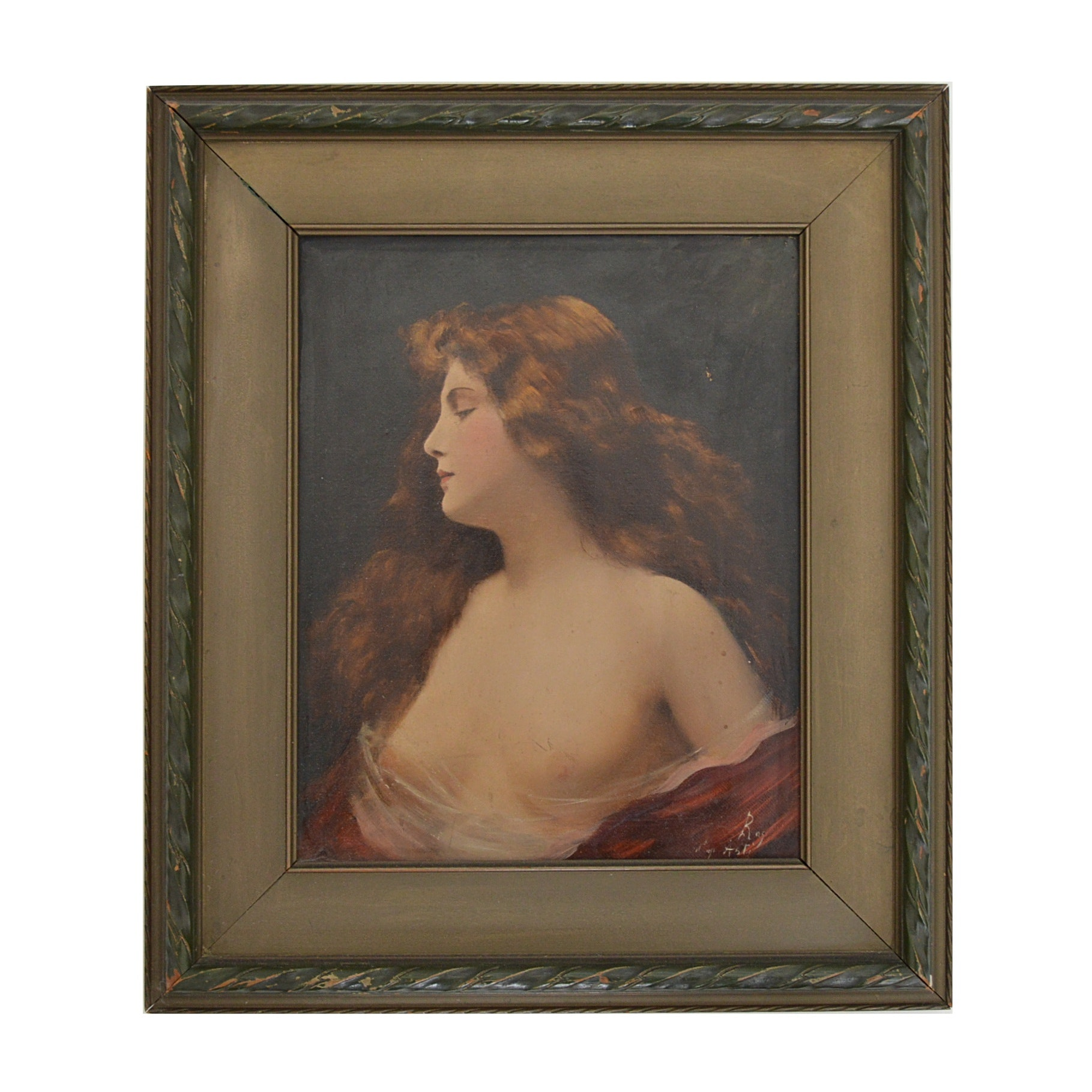 Antique Signed French Oil on Canvas of a Draped Nude
