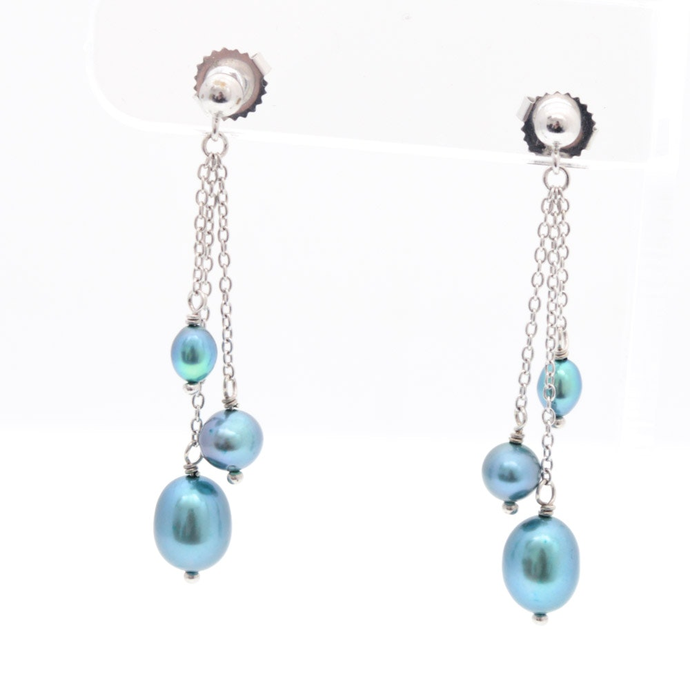 Sterling Silver Dyed Cultured Freshwater Pearl Drop Earrings