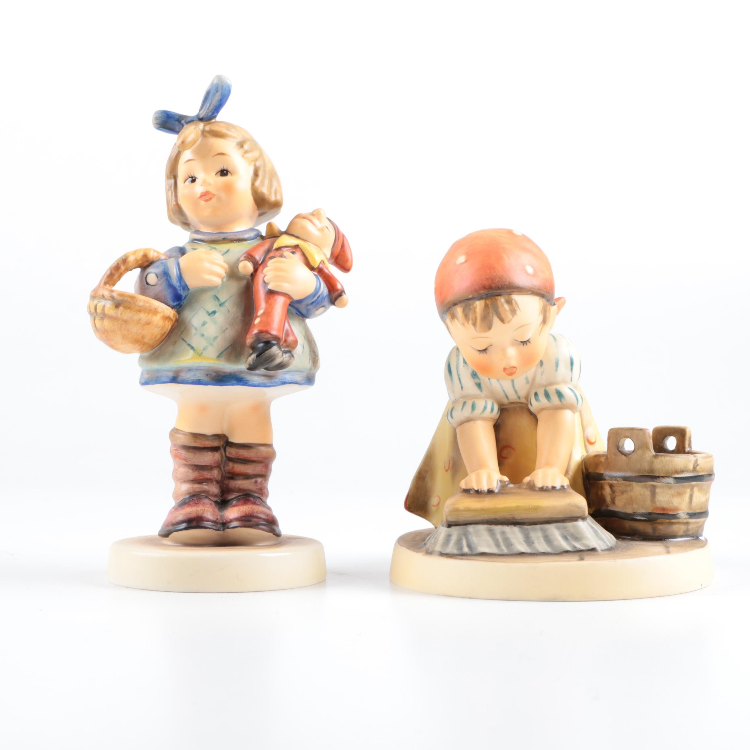 "Hummel ""Big Housecleaning"" and ""What Now"" Porcelain Figurines"