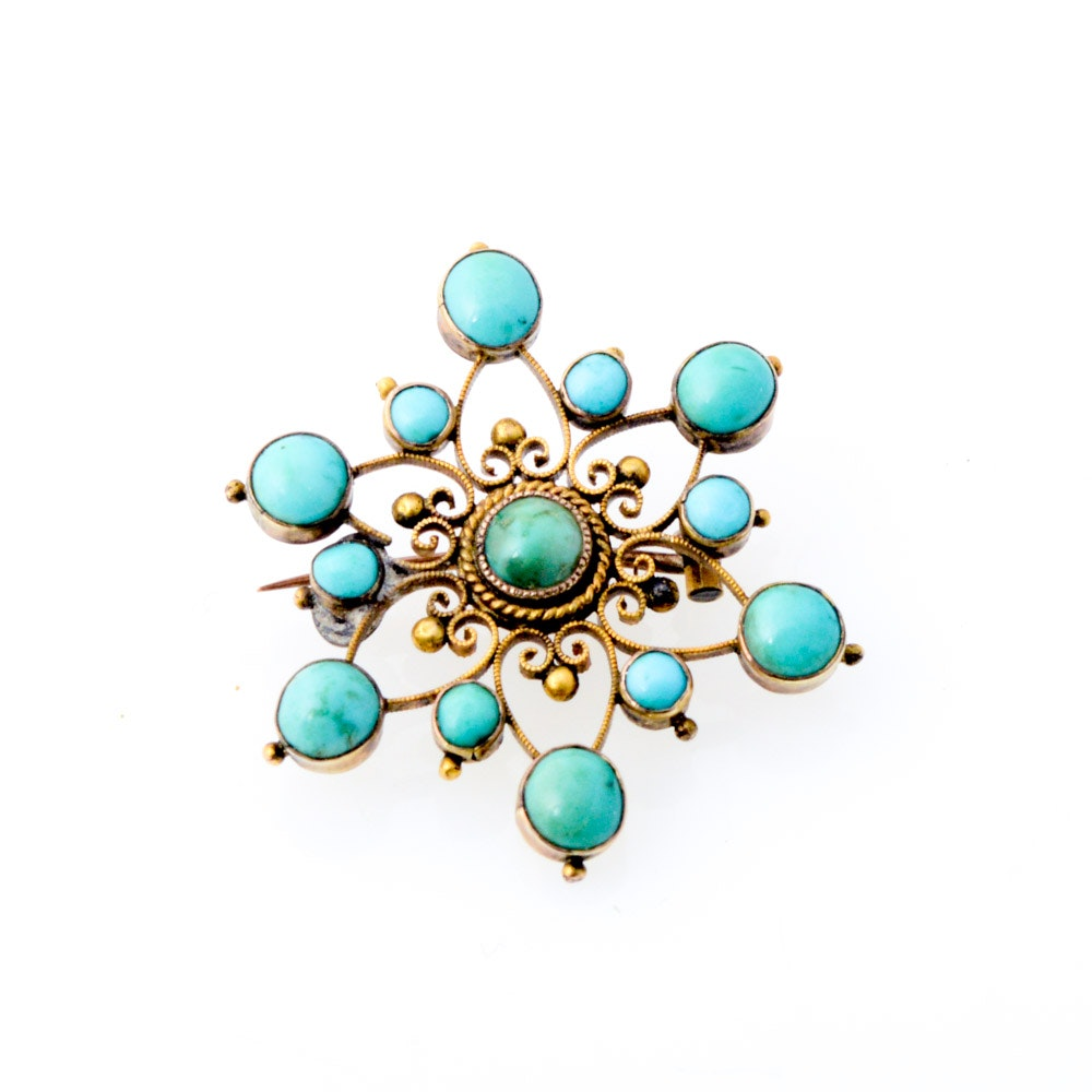 Antique Gold Tone Metal Dyed Turquoise Brooch