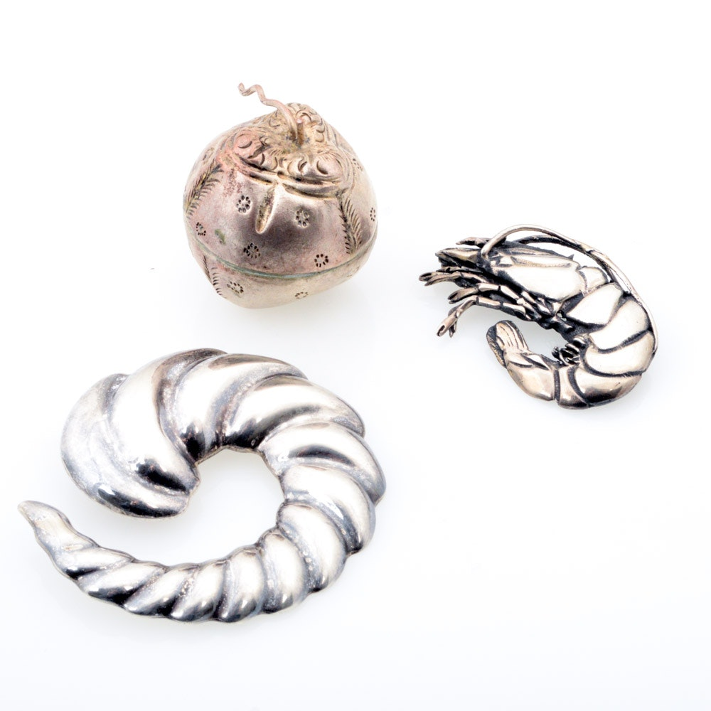 Sterling Silver Brooches and Silver Tone Trinket Box