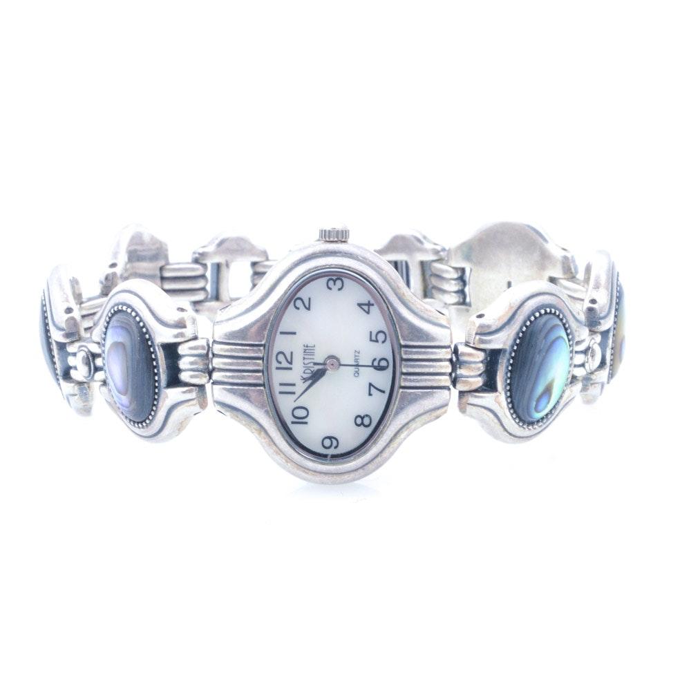 Kristine Sterling Silver Abalone Quartz Movement Wristwatch