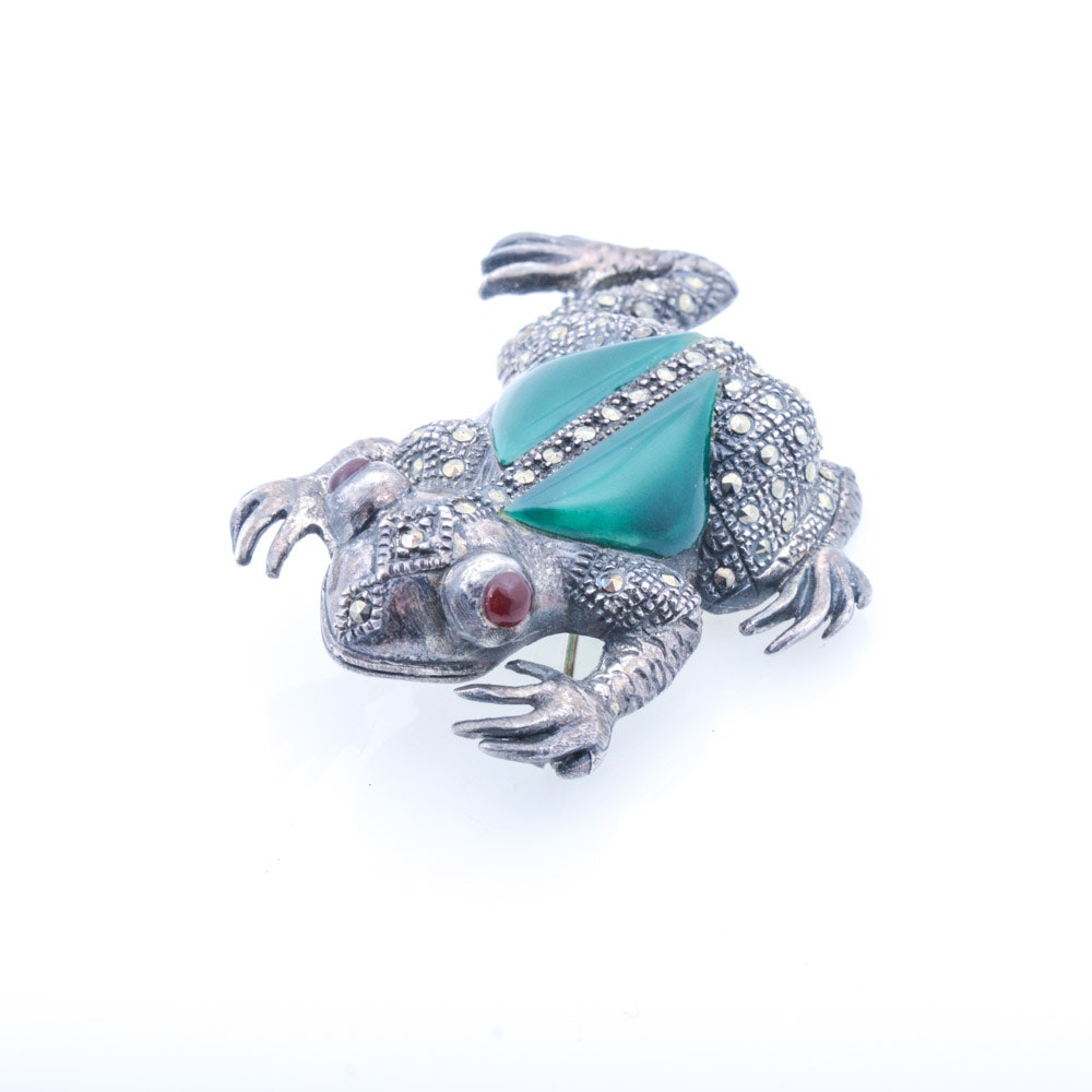 Vintage Sterling Silver Glass and Marcasite Frog Brooch