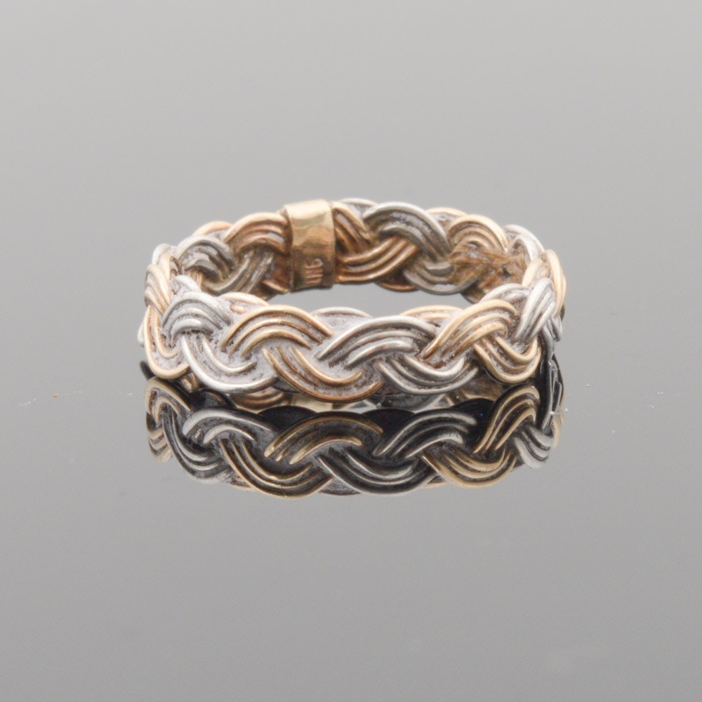 Sterling Silver and 14K Yellow Gold Braided Band