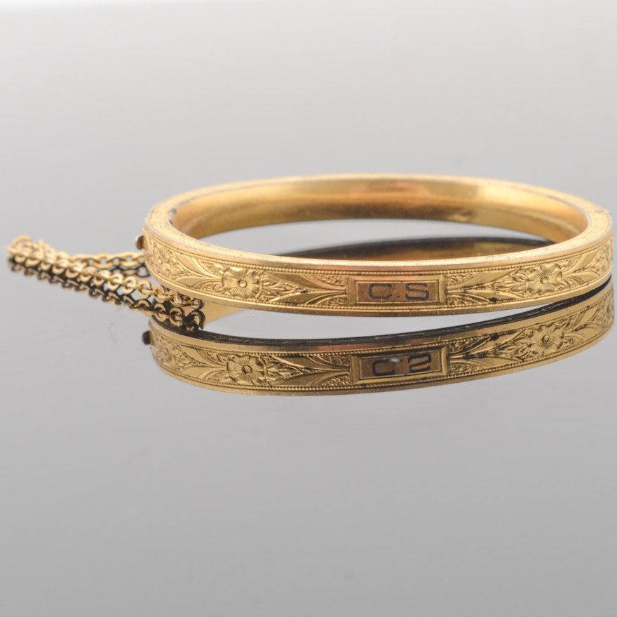 Antique Gold Filled Child Size Bangle Bracelet