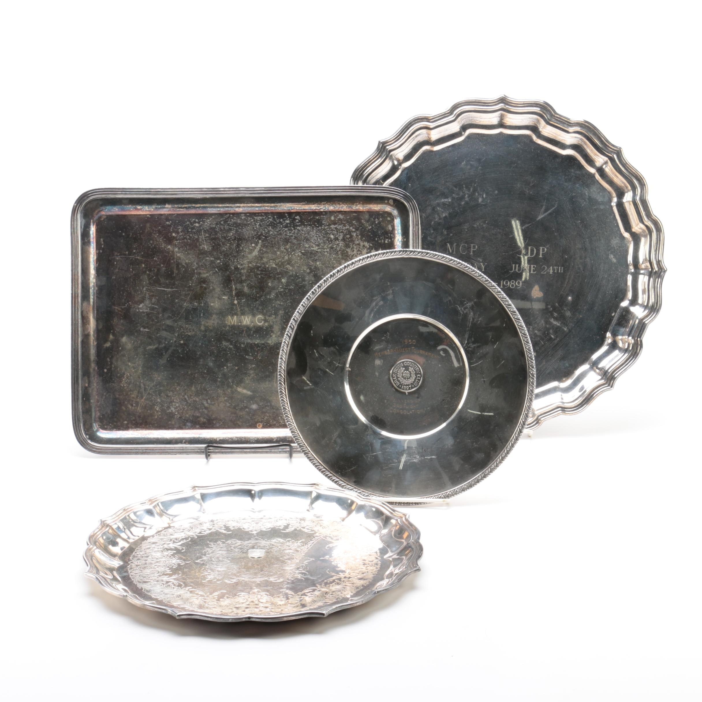 International Silver Co. Tray with Other Engraved Trays