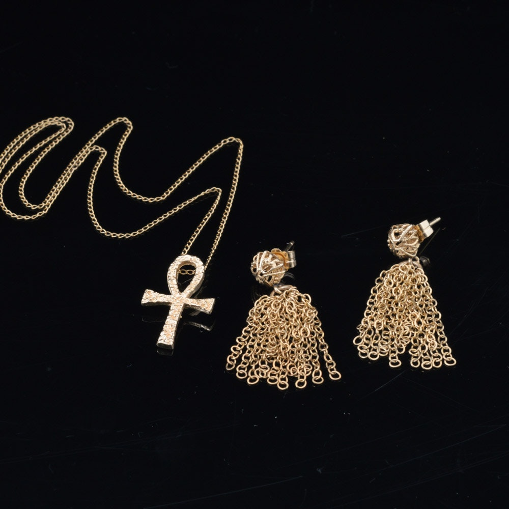 14K Yellow Gold Ankh Pendant Necklace and Tassel Earrings