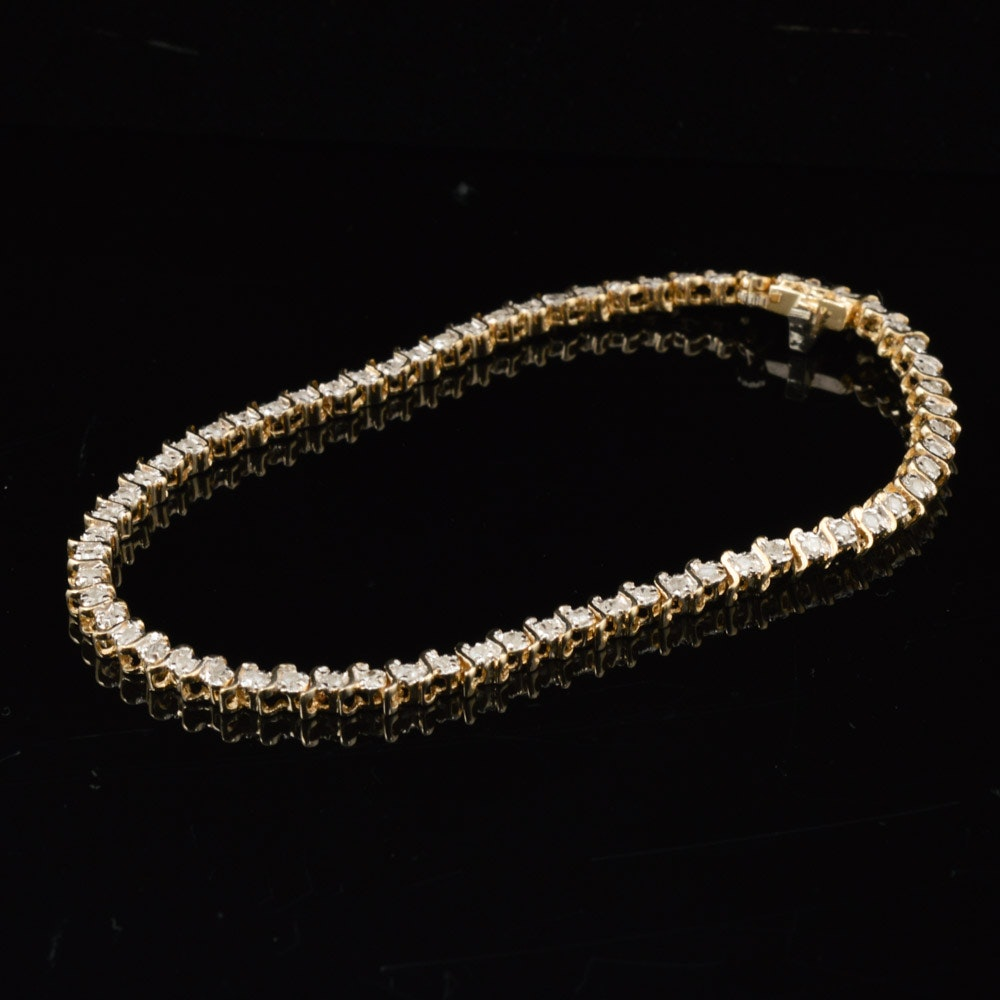 14K Yellow Gold 1.00 CTW Diamond Tennis Bracelet