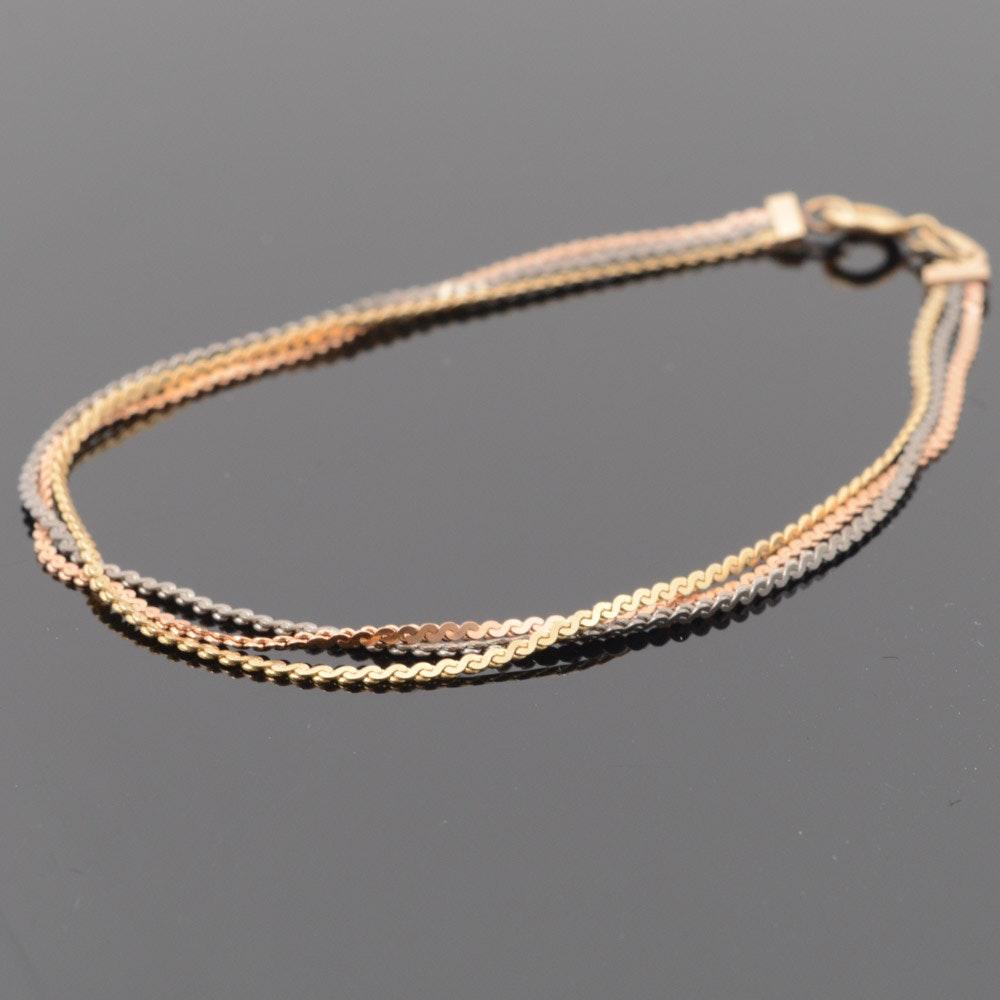 14K Tri-Color Gold Chain Bracelet