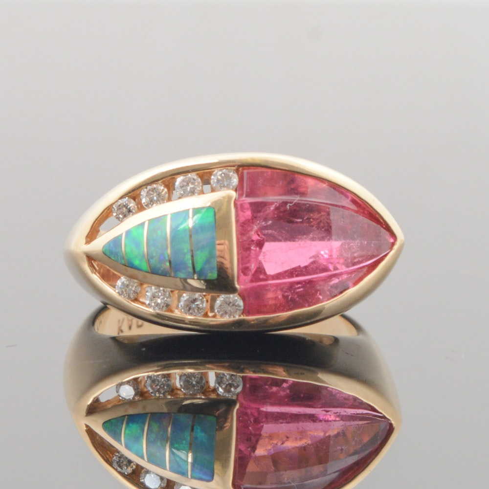 Kabana 14K Yellow Gold Tourmaline, Opal, and Diamond Ring