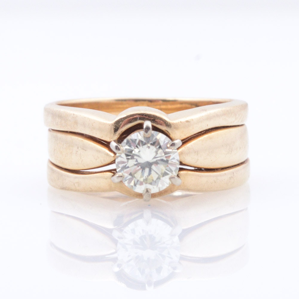 14K Yellow Gold Diamond Solitaire Soldered Ring and Jacket