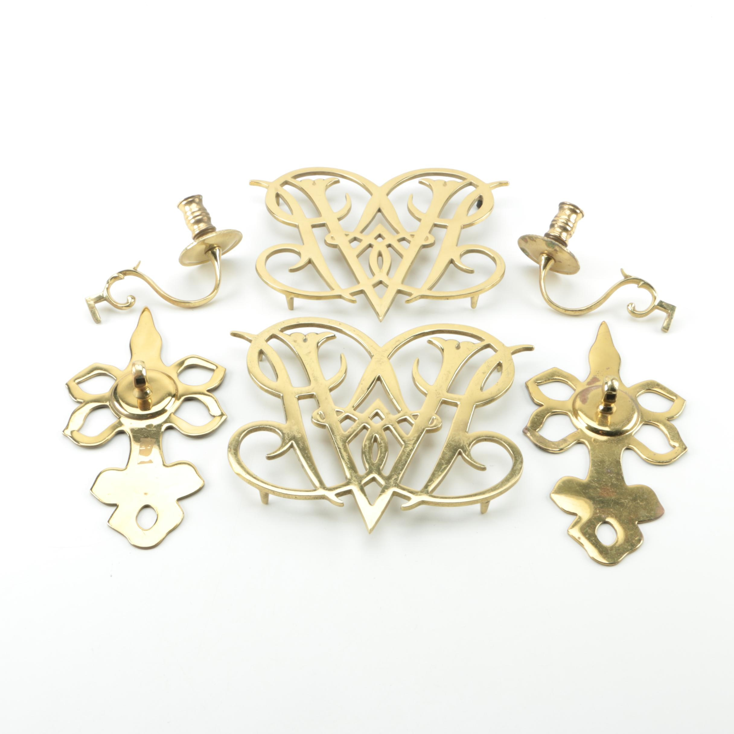 """Williamsburg """"William and Mary"""" Brass Trivets with Candle Holders and Hardware"""