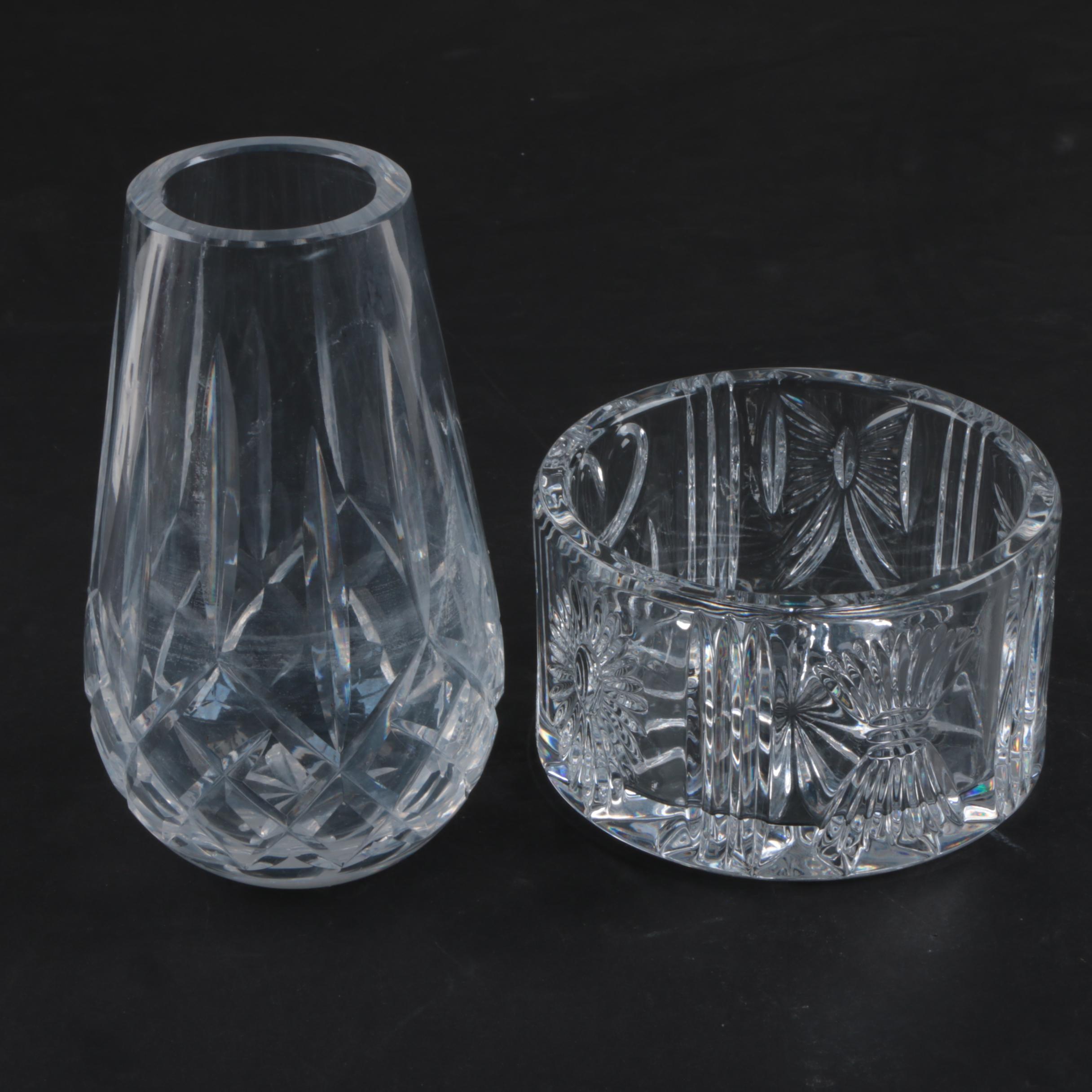 "Waterford Crystal ""Lismore"" Vase and ""Millenium Series"" Coaster"