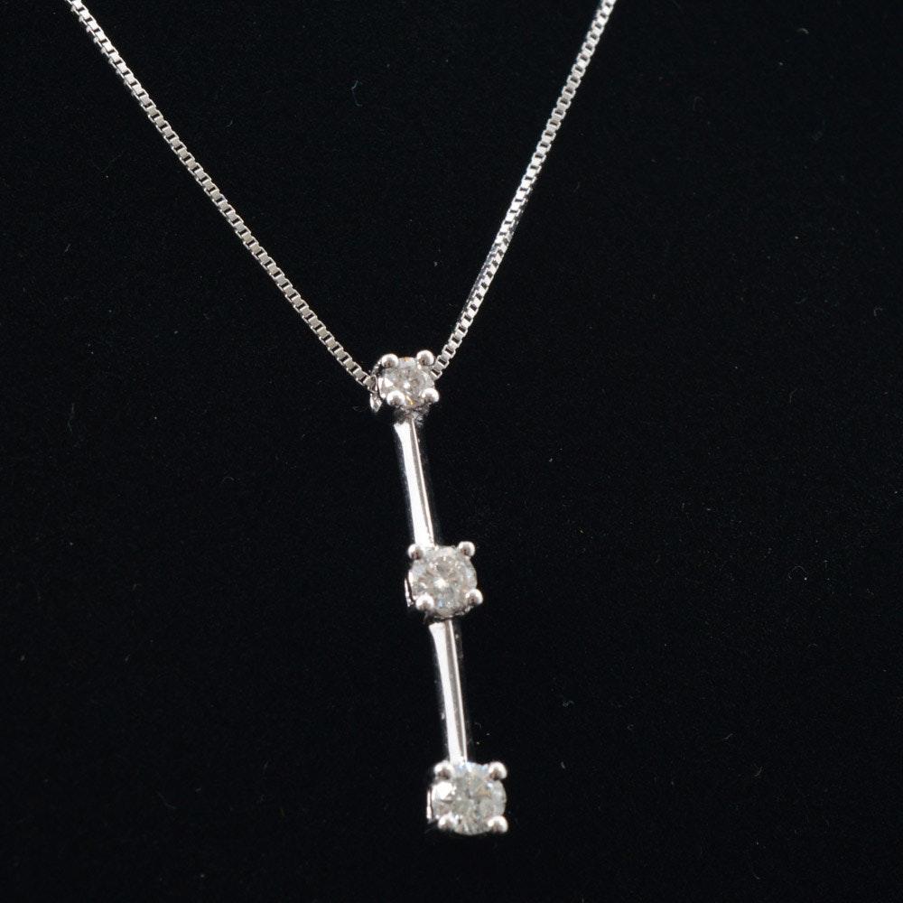 14K White Gold Linear Diamond Drop Pendant Necklace