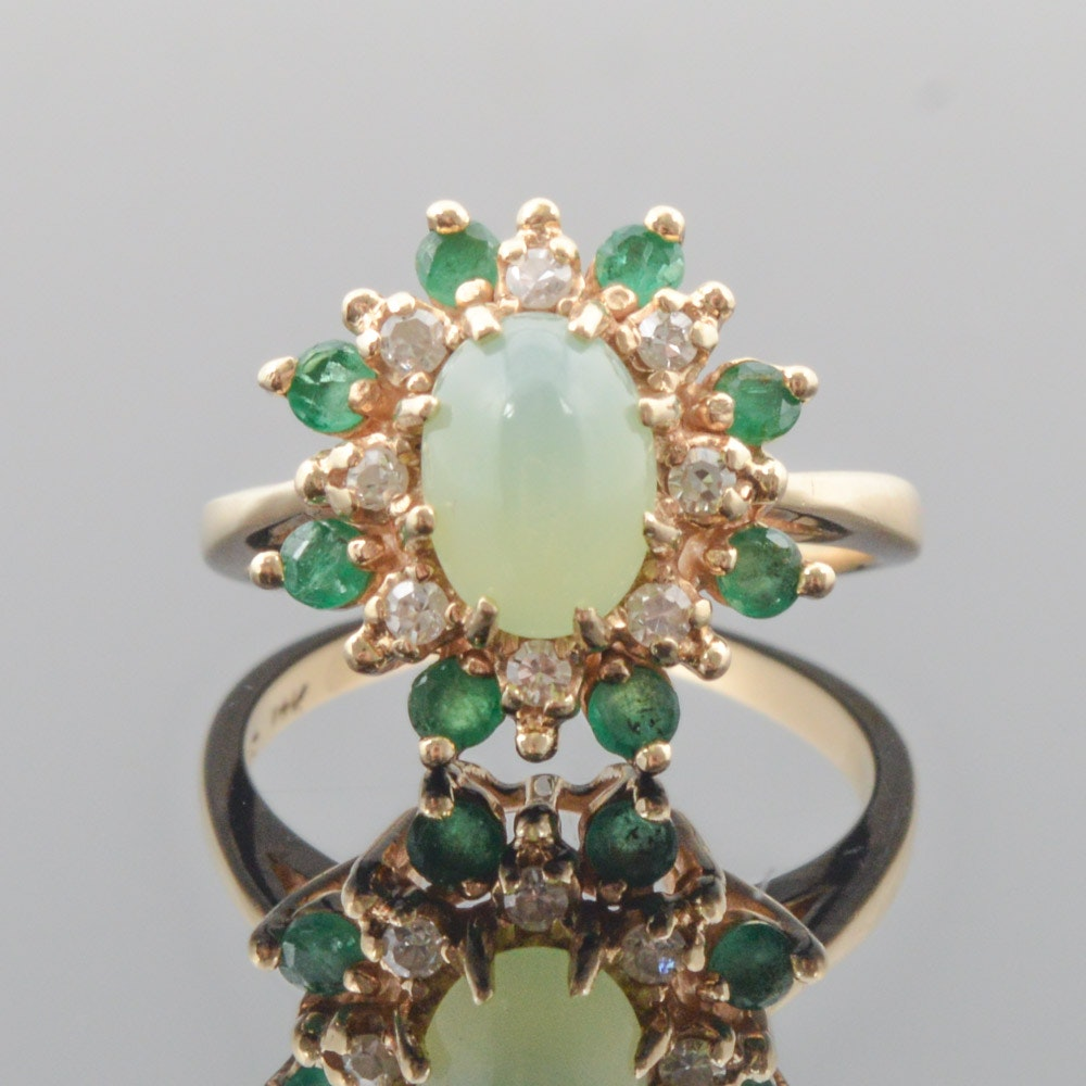 14K Yellow Gold Synthetic Star Sapphire, Diamond, and Emerald Ring