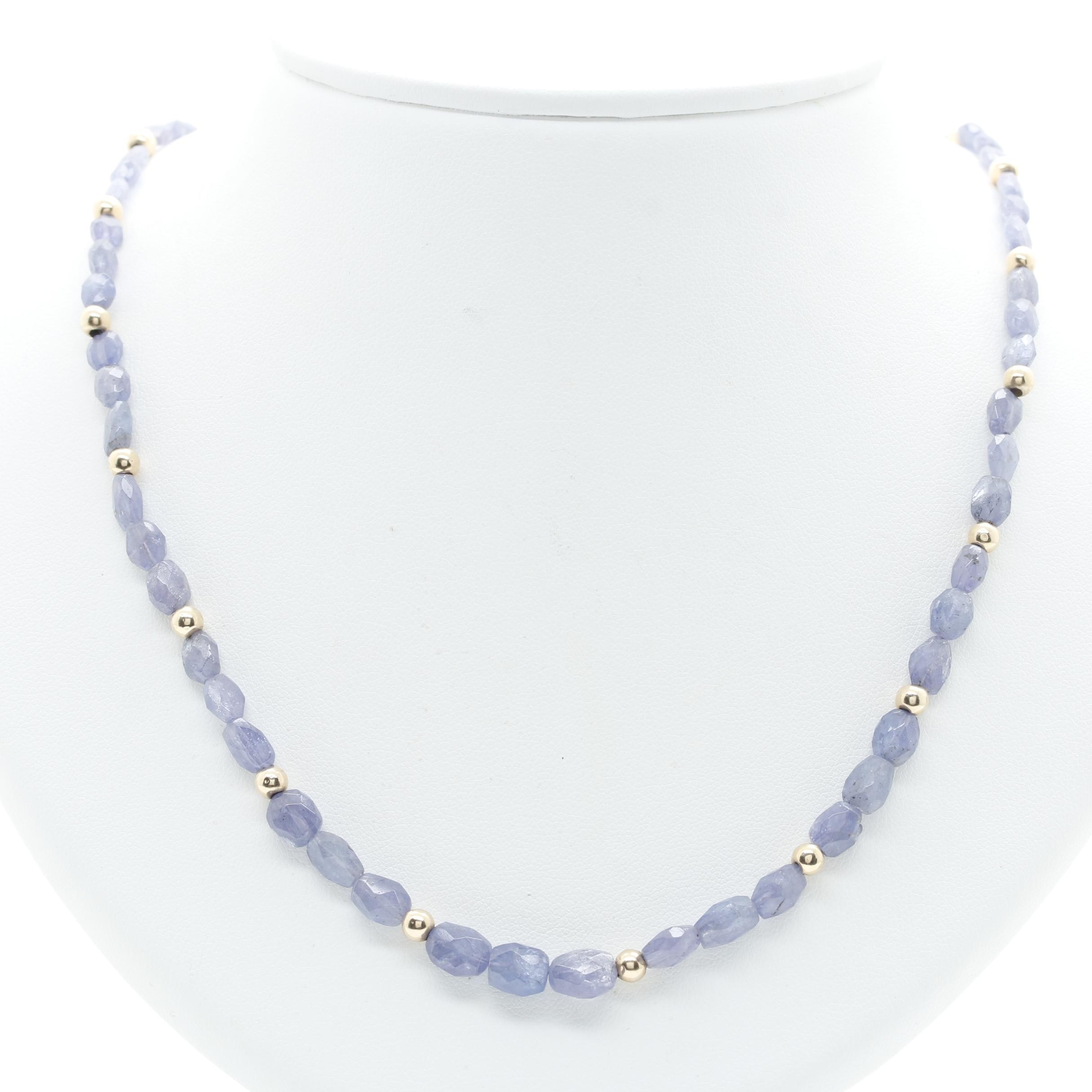 14K Yellow Gold Tanzanite Necklace