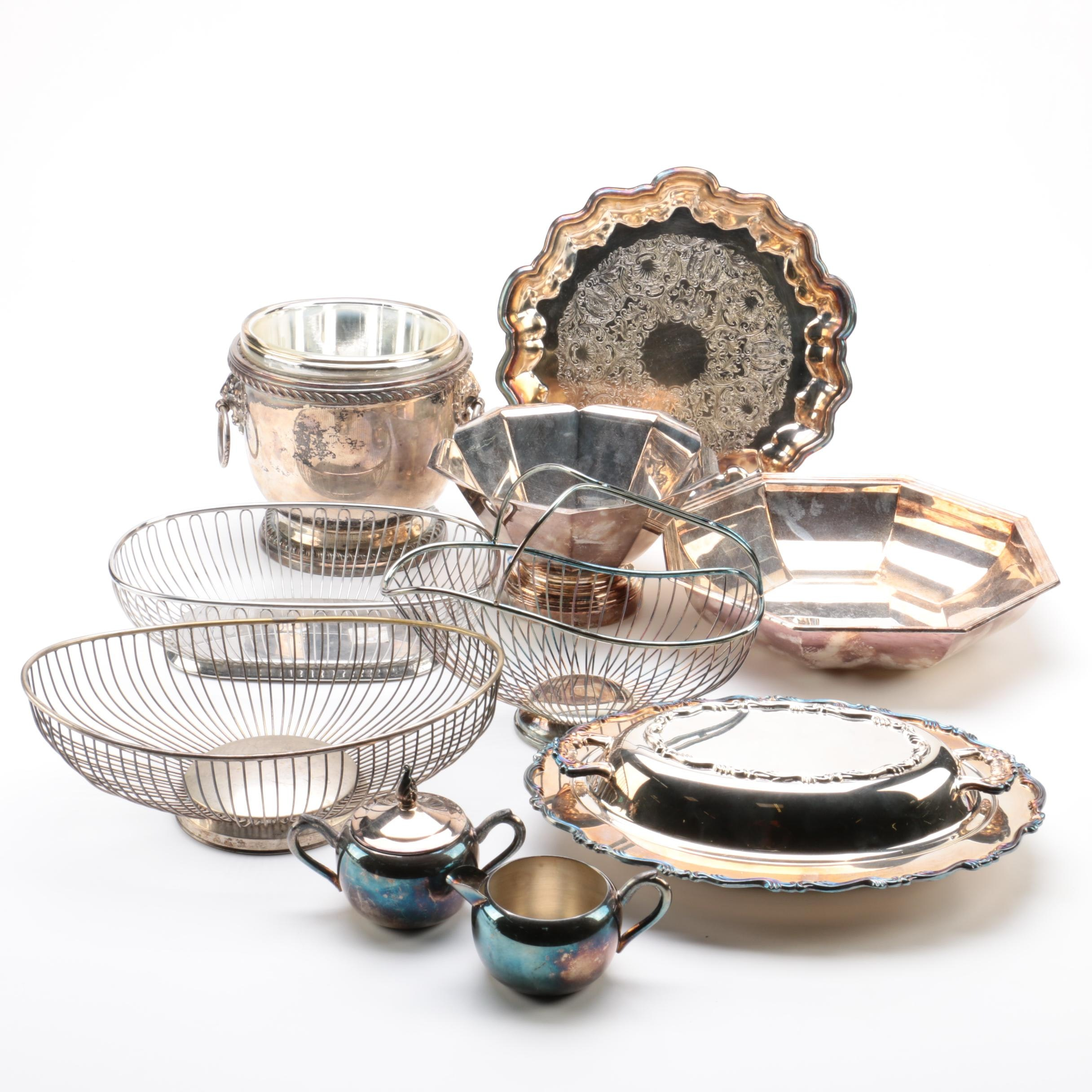 Poole Urn Ice Bucket and Other Silver Plate Serveware