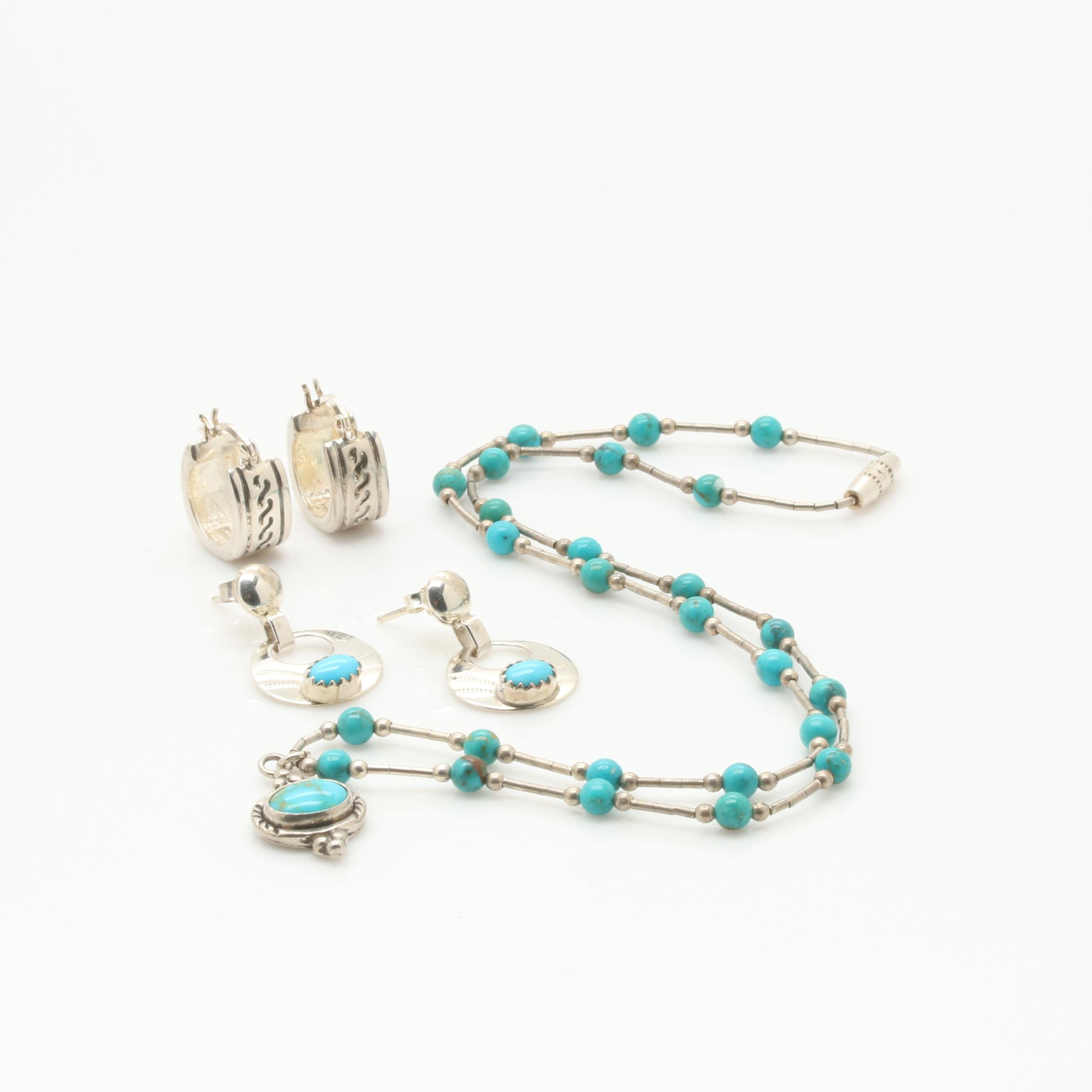 Sterling Silver Necklace and Earring Selection Featuring Turquoise