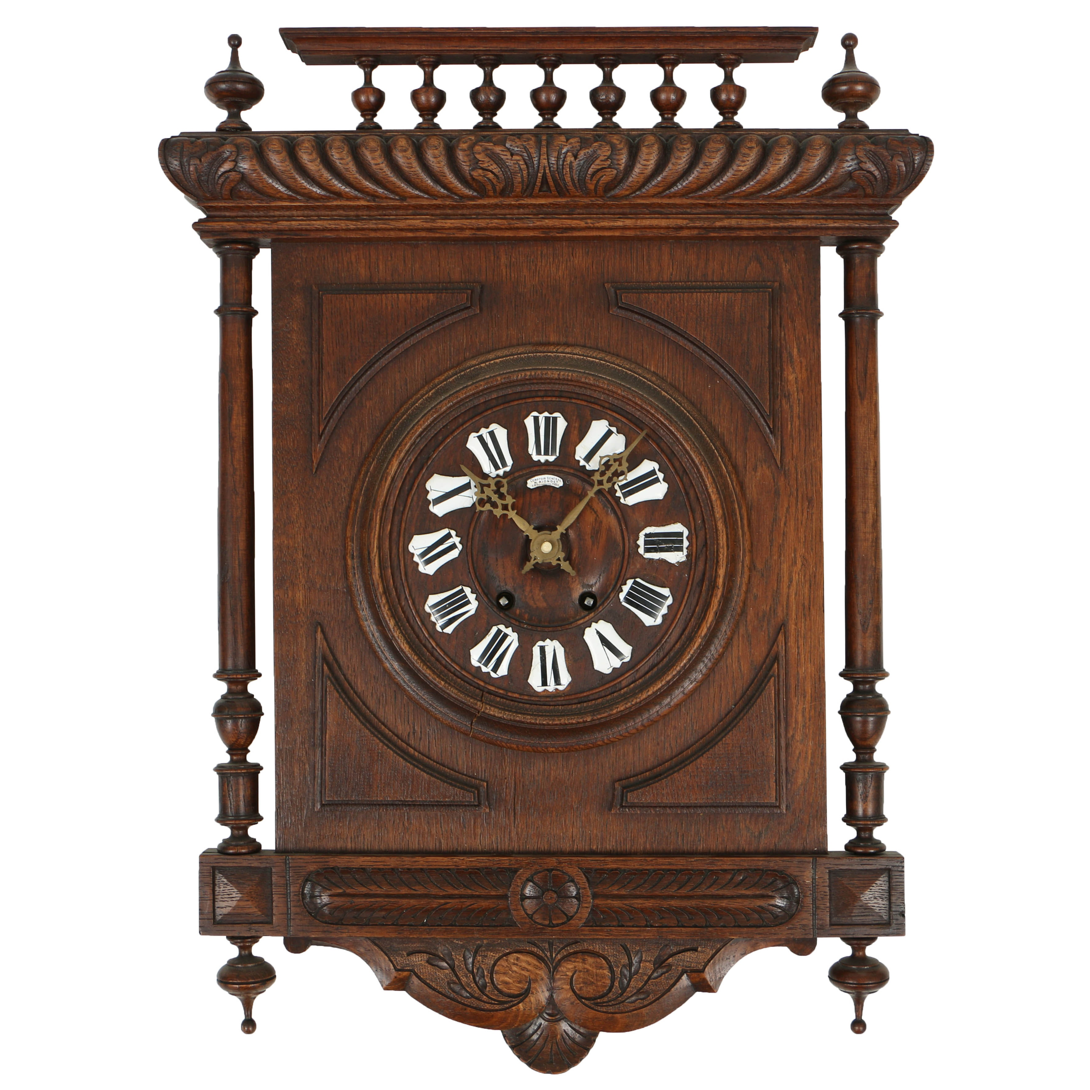 Antique French Oak Wall Clock by H. Riondet, Late 19th Century