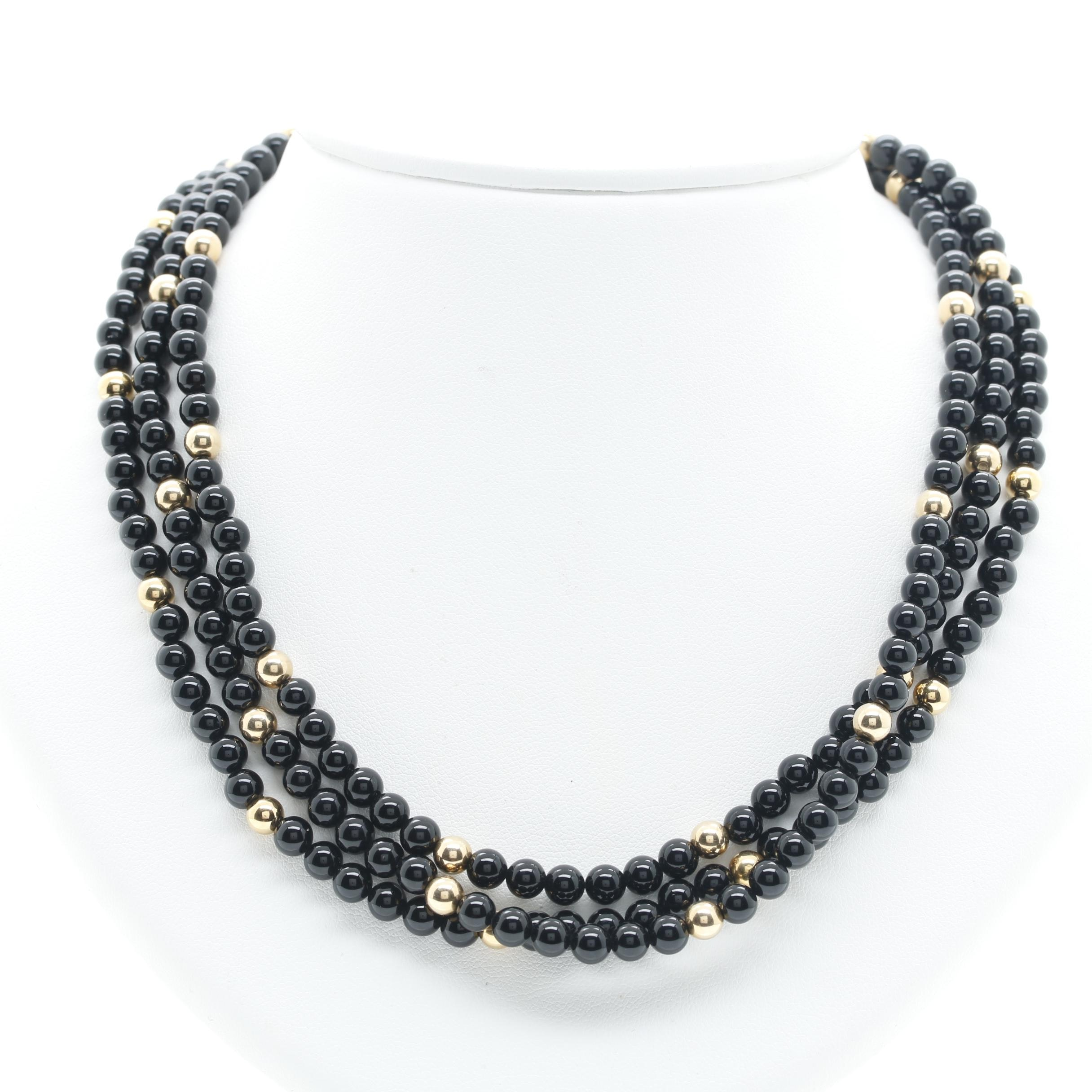 14K Yellow Gold Black Onyx Beaded Necklace