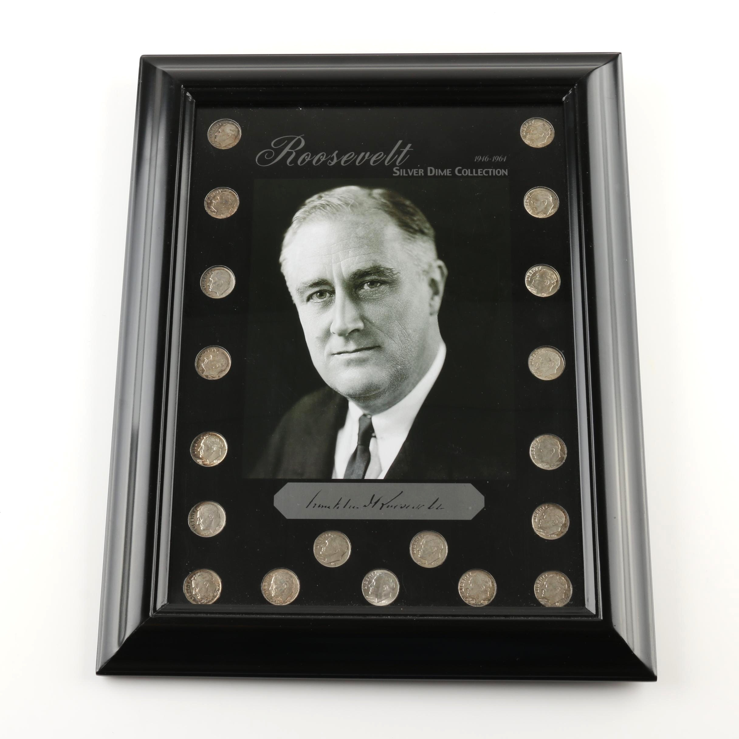 Framed Roosevelt Silver Dime Collection