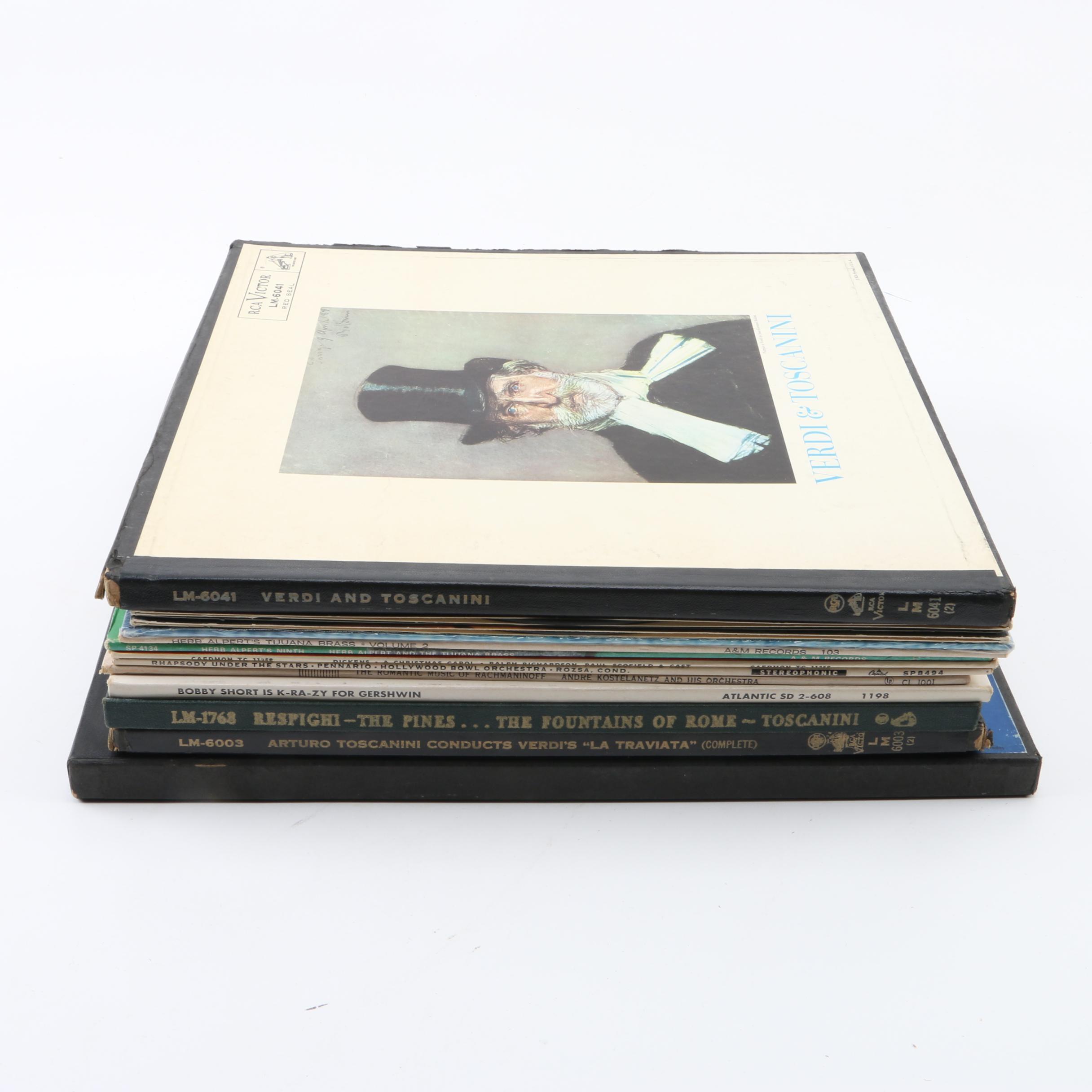 Vinyl Jazz and Classical Records Including Verdi, Toscanini, Gershwin, Alpert
