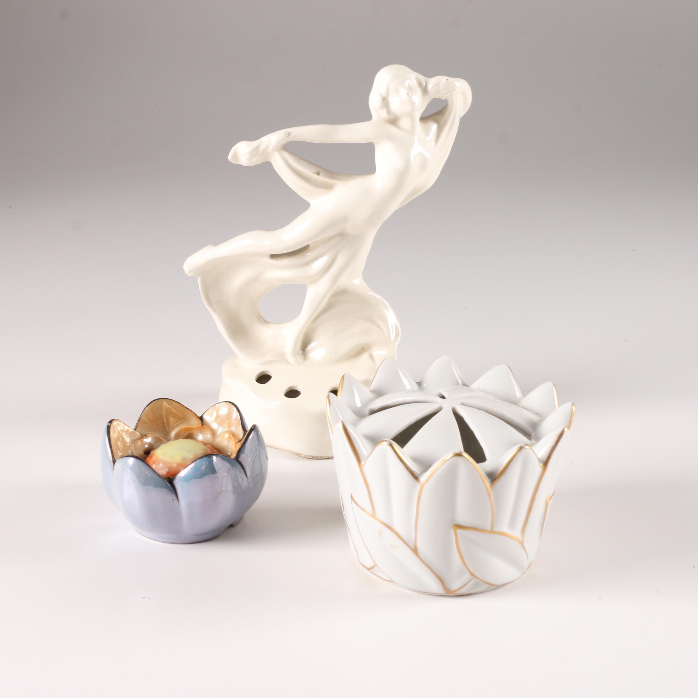 Decorative Porcelain Flower Frogs including Erphila Fayence