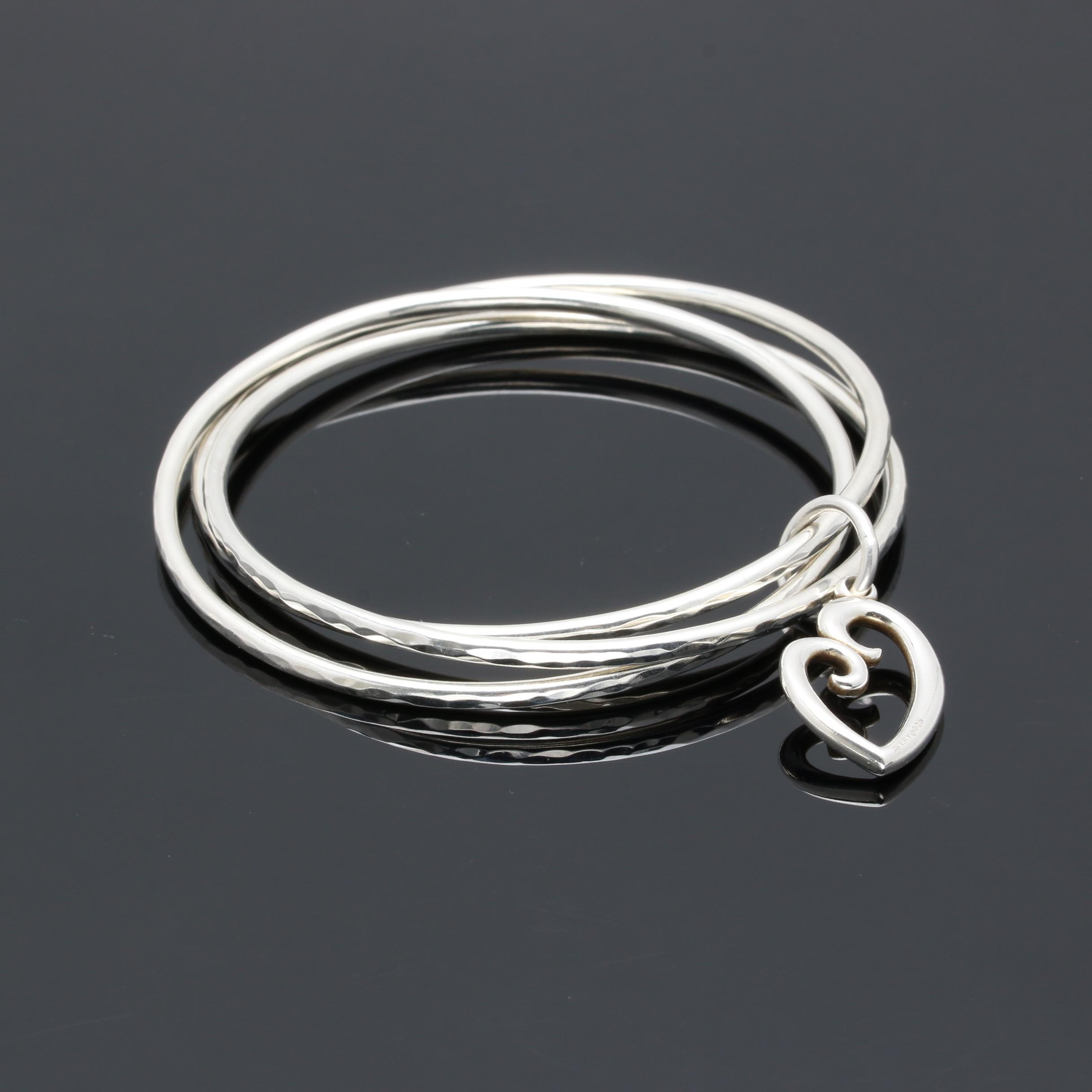 James Avery Sterling Silver Triple Bangle Bracelet with Heart Charm